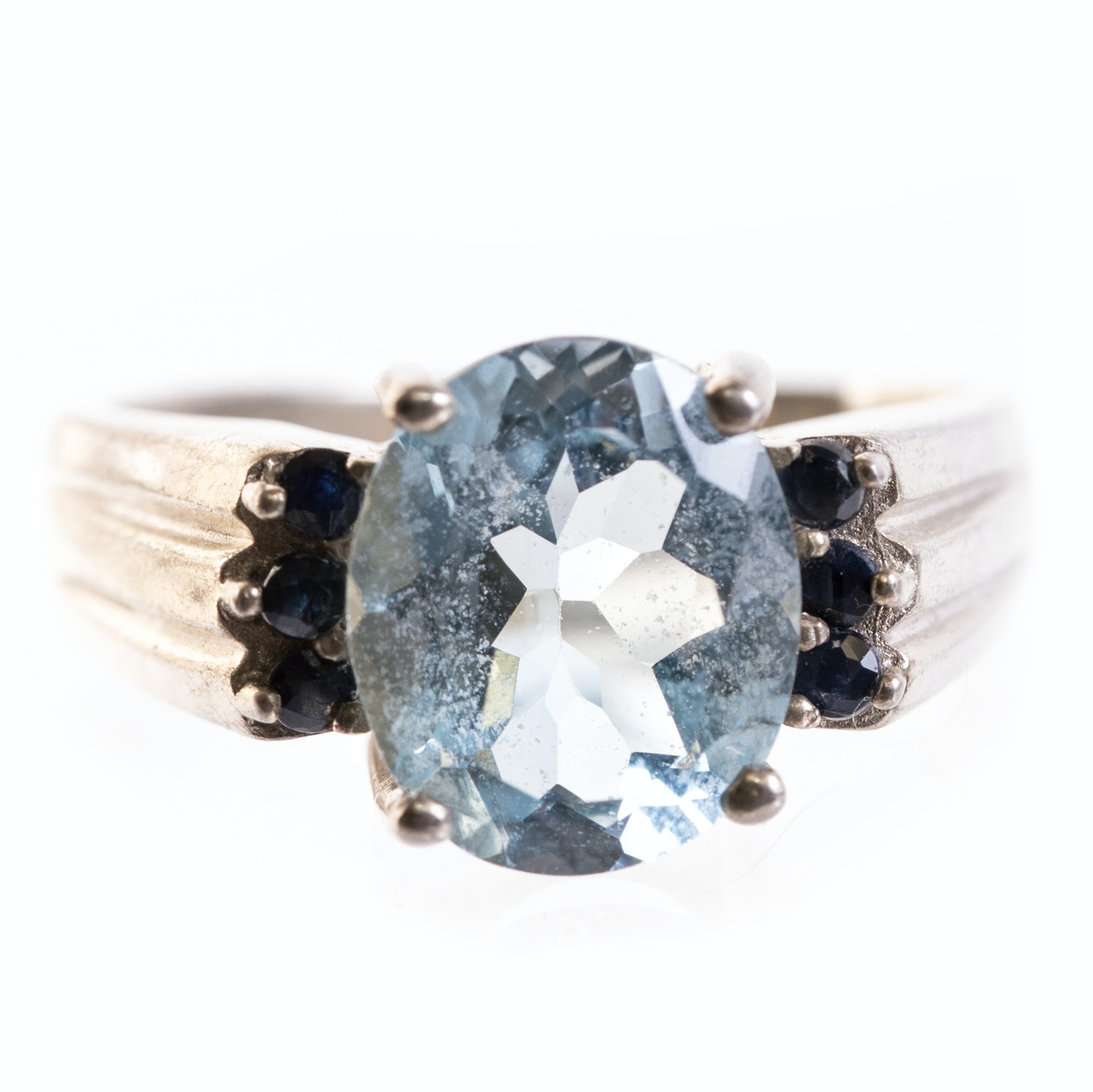 Sterling Silver 4.88 Carat Blue Topaz, and Sapphire Ring