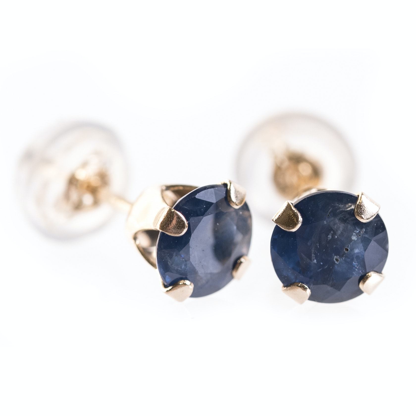 14K Yellow Gold and Sapphire Stud Earrings