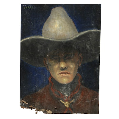 "Carlo Di Paolo Oil Painting on Cardboard ""Cowboy"""