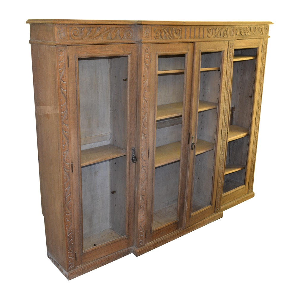 Antique Carved Italian Oak Hutch