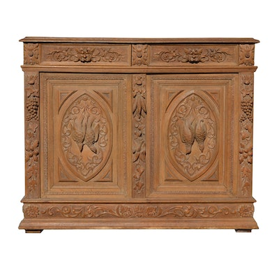 Antique Carved Oak Italian Cabinet - Online Furniture Auctions Vintage Furniture Auction Antique