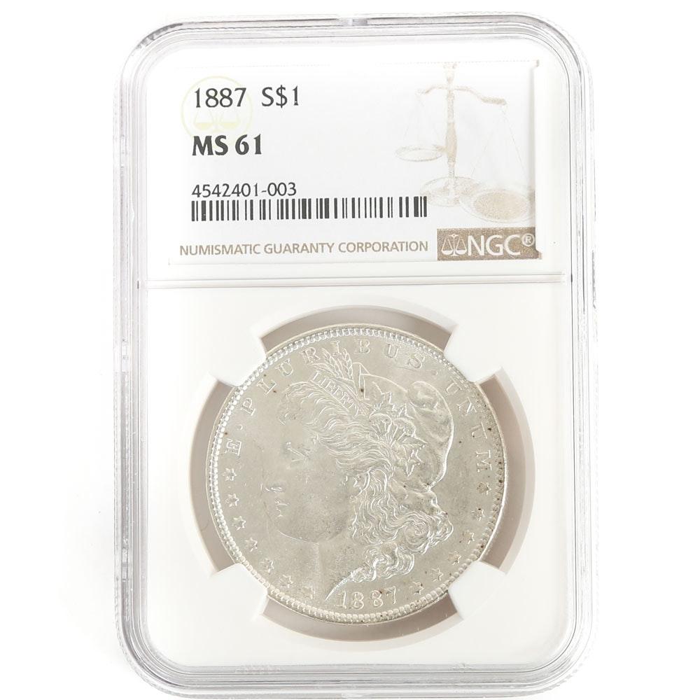 NGC Graded 1887 S Morgan Silver Dollar