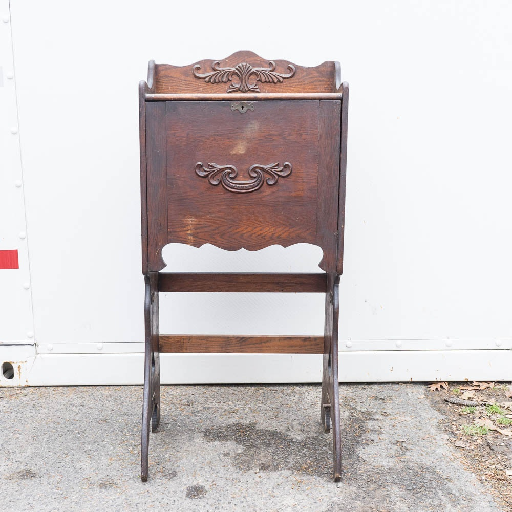 Antique Victorian Oak Fall Front Writing Desk