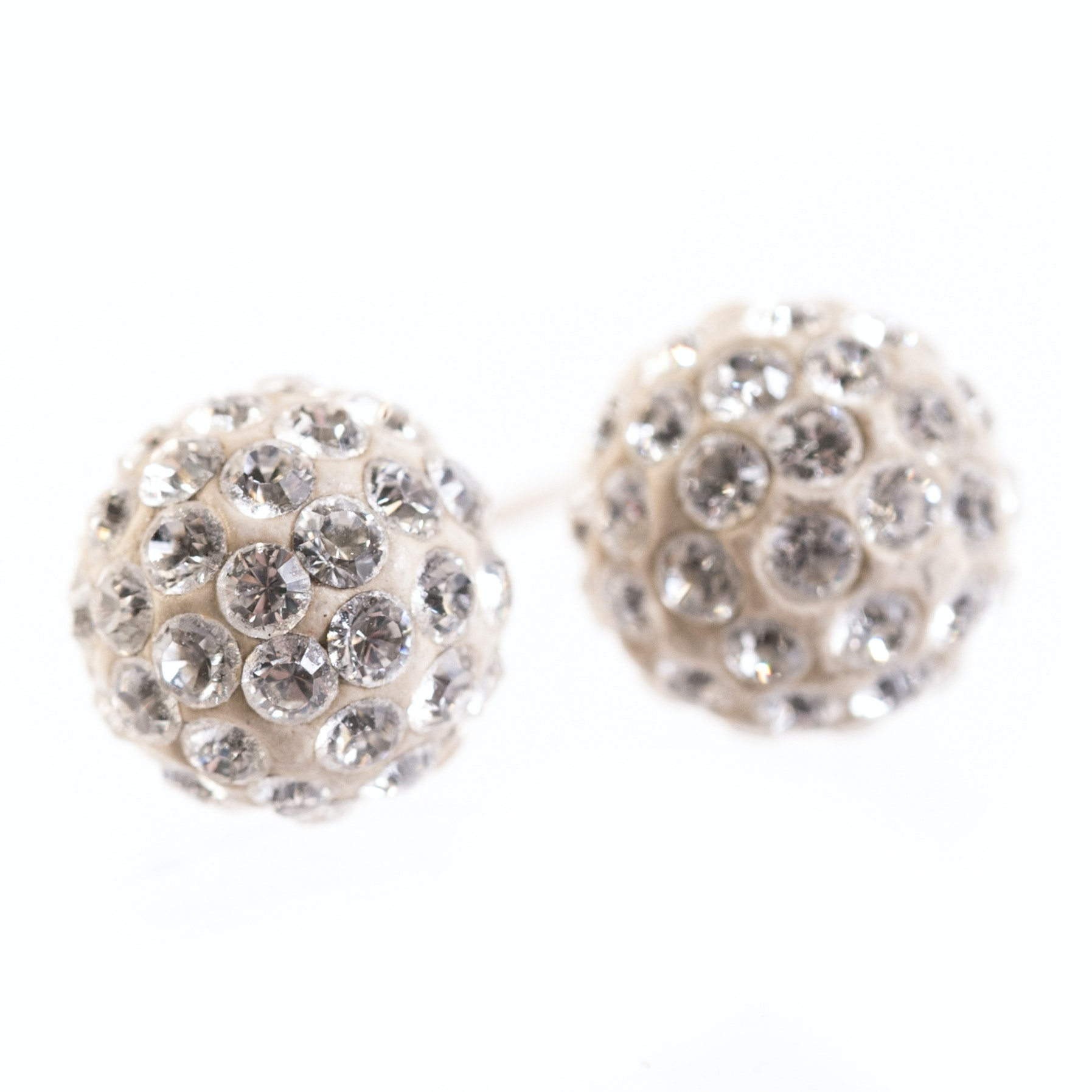 14K Yellow Gold and Crystal Ball Stud Earrings