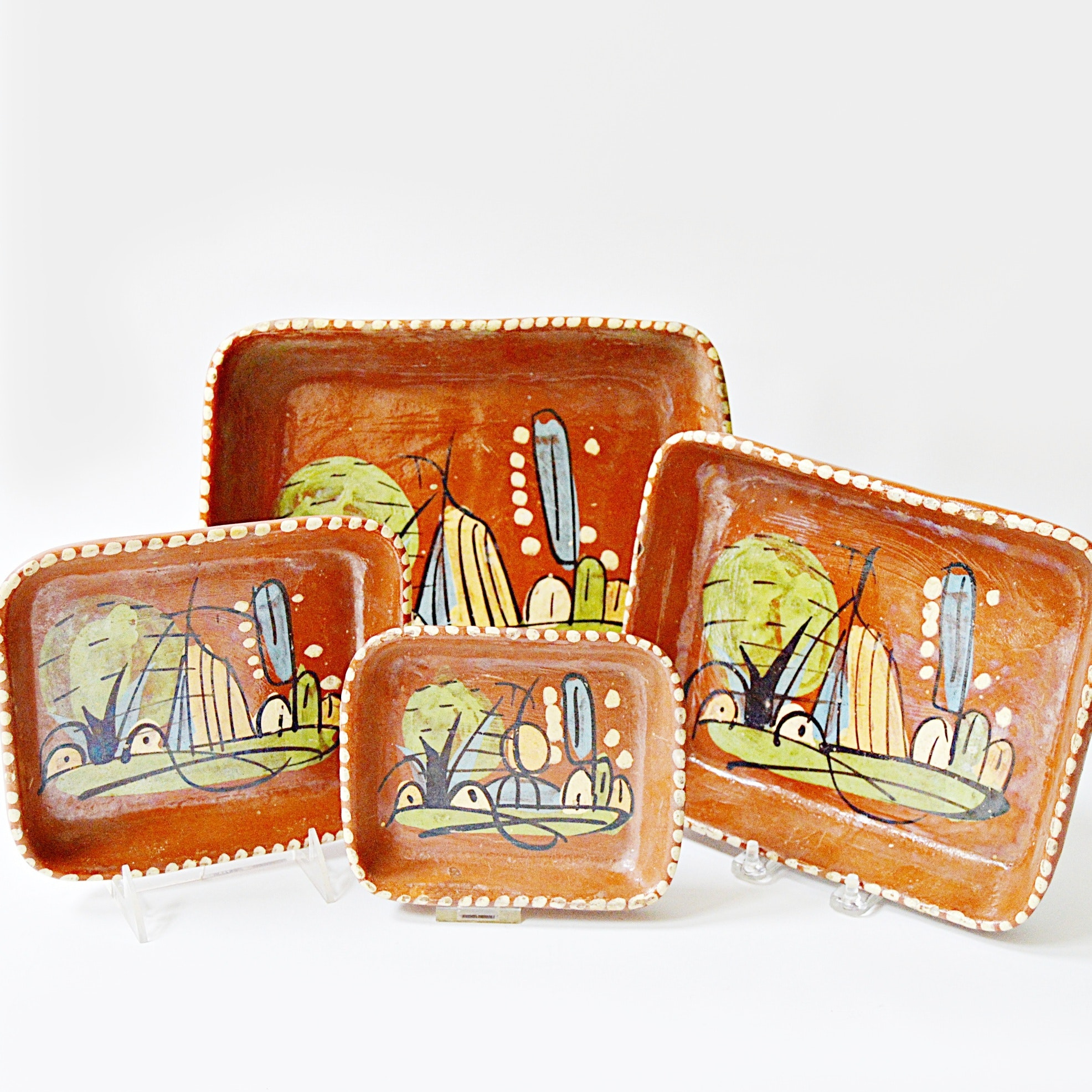 Set of Early 20th Century Mexican Terra Cotta Trays
