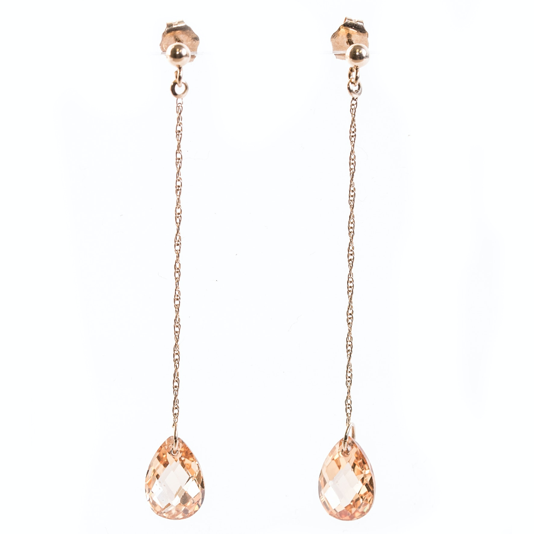 14K Yellow Gold and Citrine Briolette Dangle Earrings