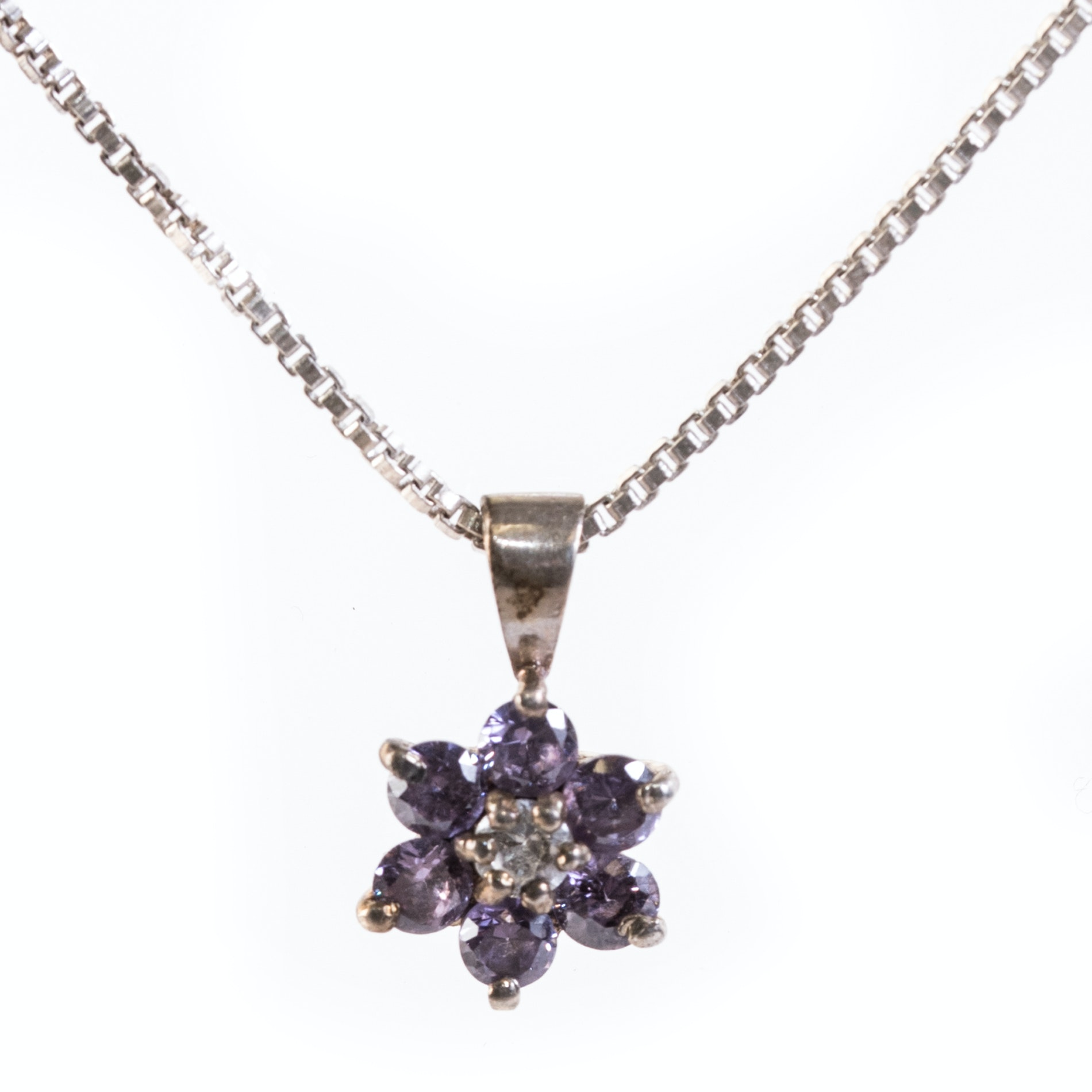 Sterling Silver and Crystal Flower Pendant Necklace