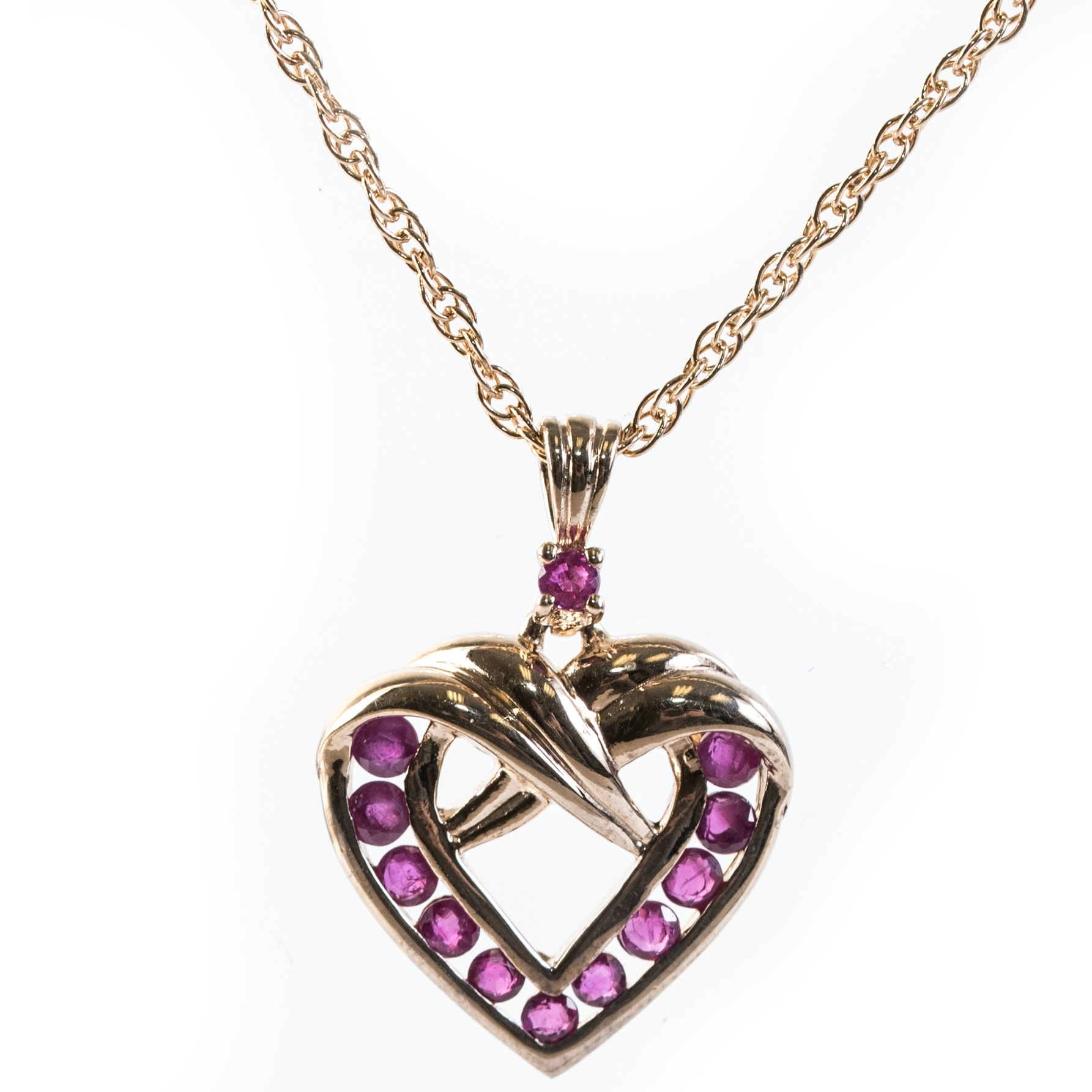 Sterling Silver and Ruby Heart Pendant Necklace