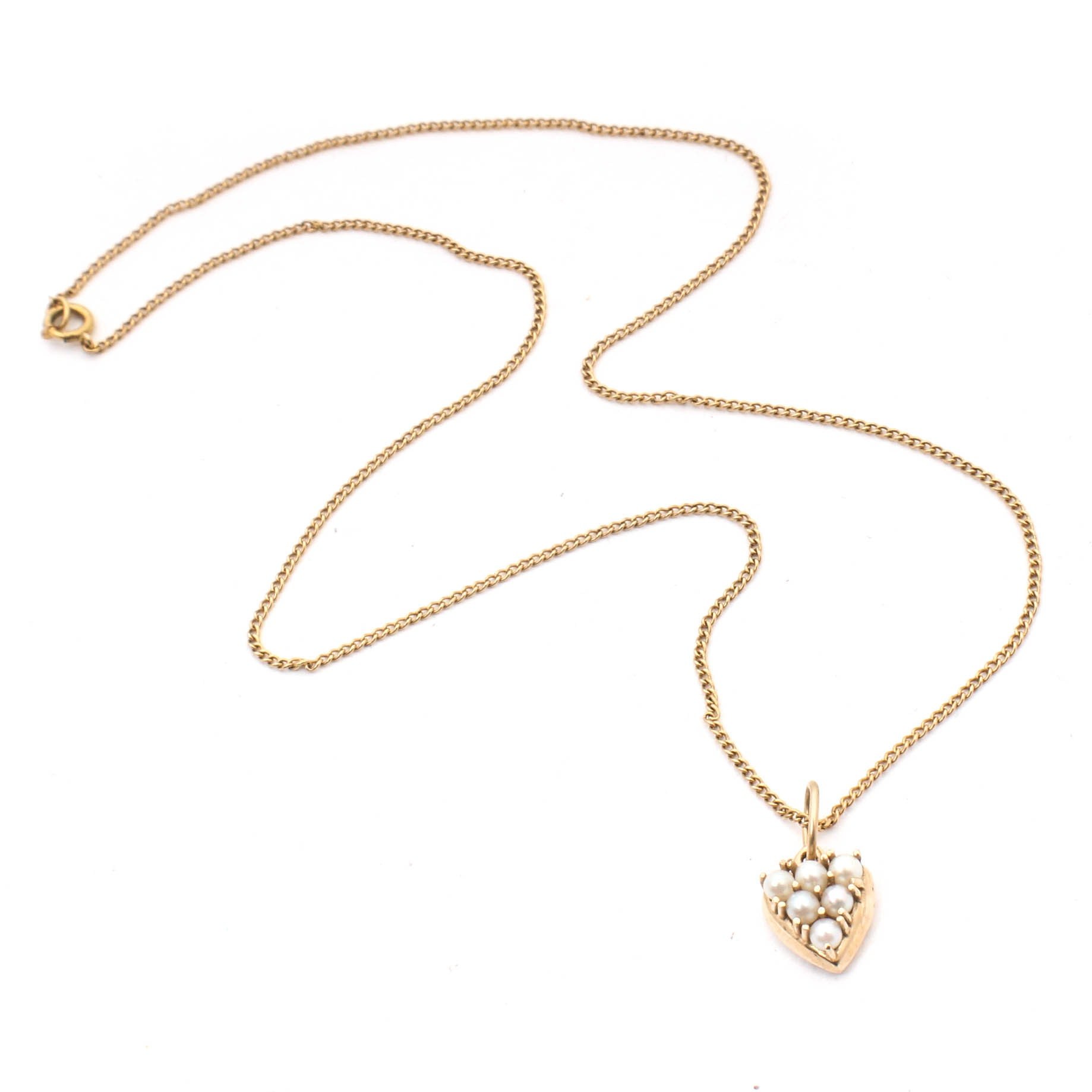 10K Yellow Gold Necklace with 14K and Cultured Pearl Pendant