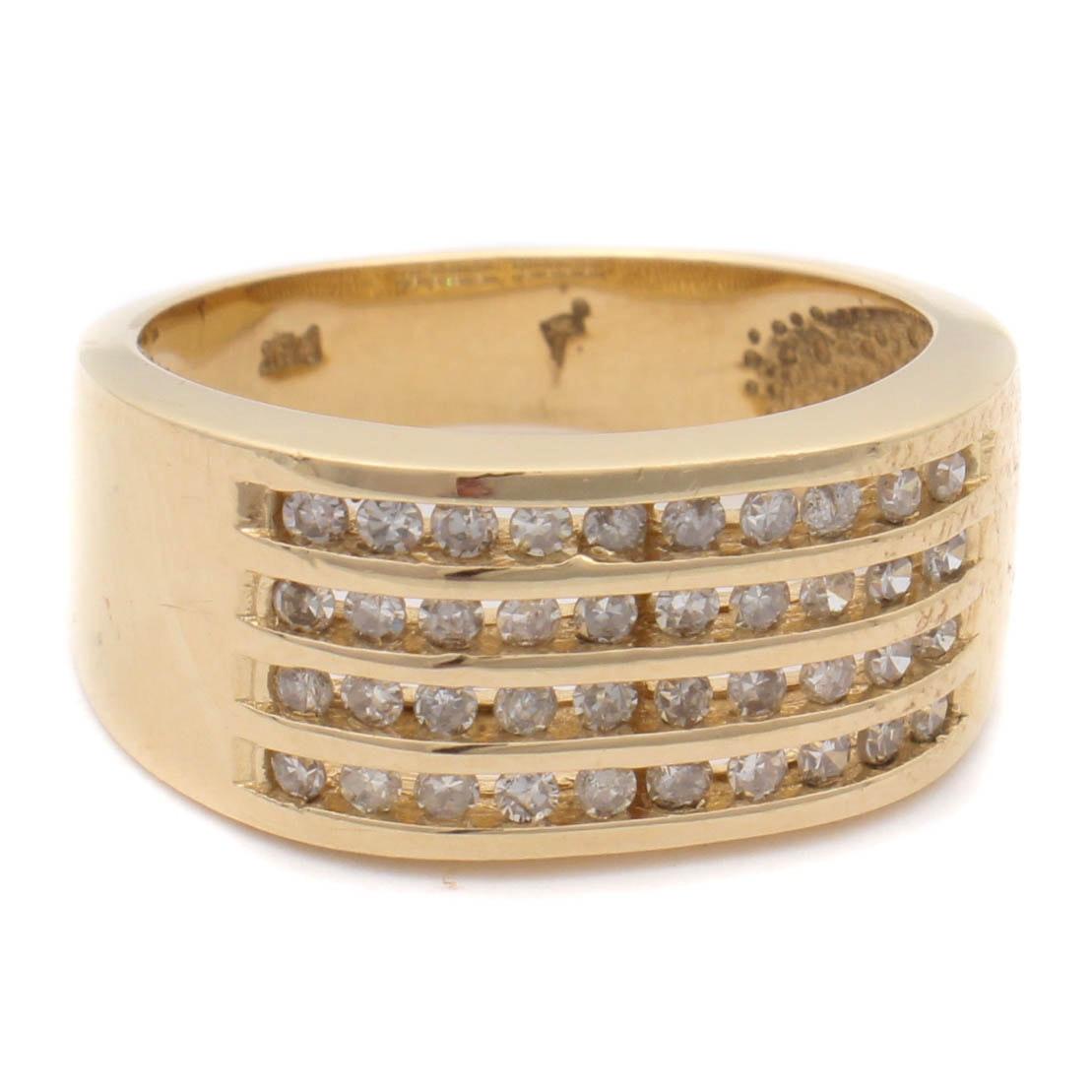 14K Yellow Gold and Diamond Multi-Row Ring