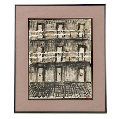 Tongo Watercolor Painting and Pastel Drawing on Paper Abstract Prison Scene