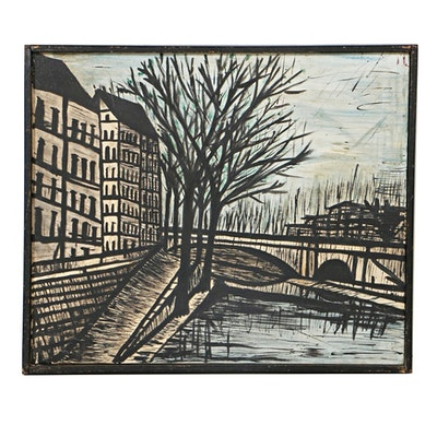 Oil Painting on Canvas Parisian Cityscape