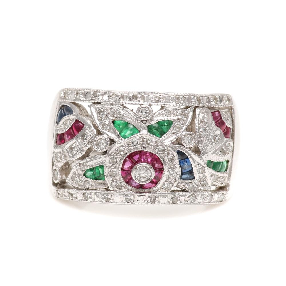 14K White Gold Diamond and Gemstone Ring
