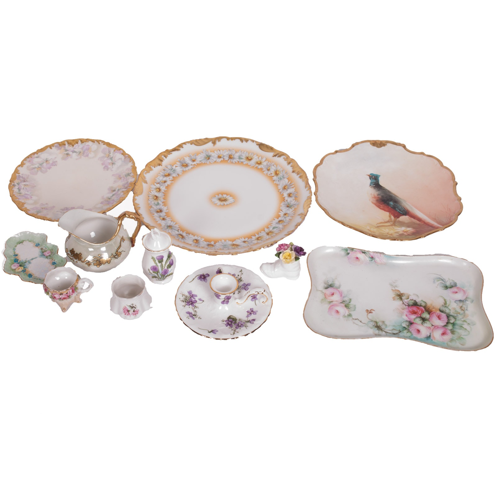 Floral Porcelain Assortment Featuring Limoges