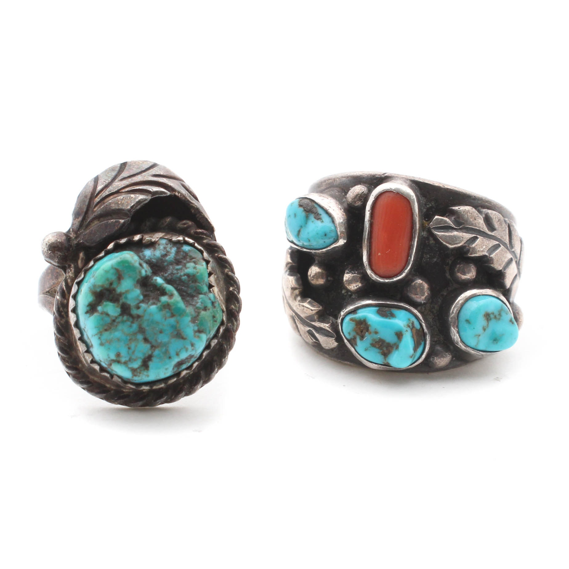 Sterling Silver Rings with Natural Turquoise and Coral
