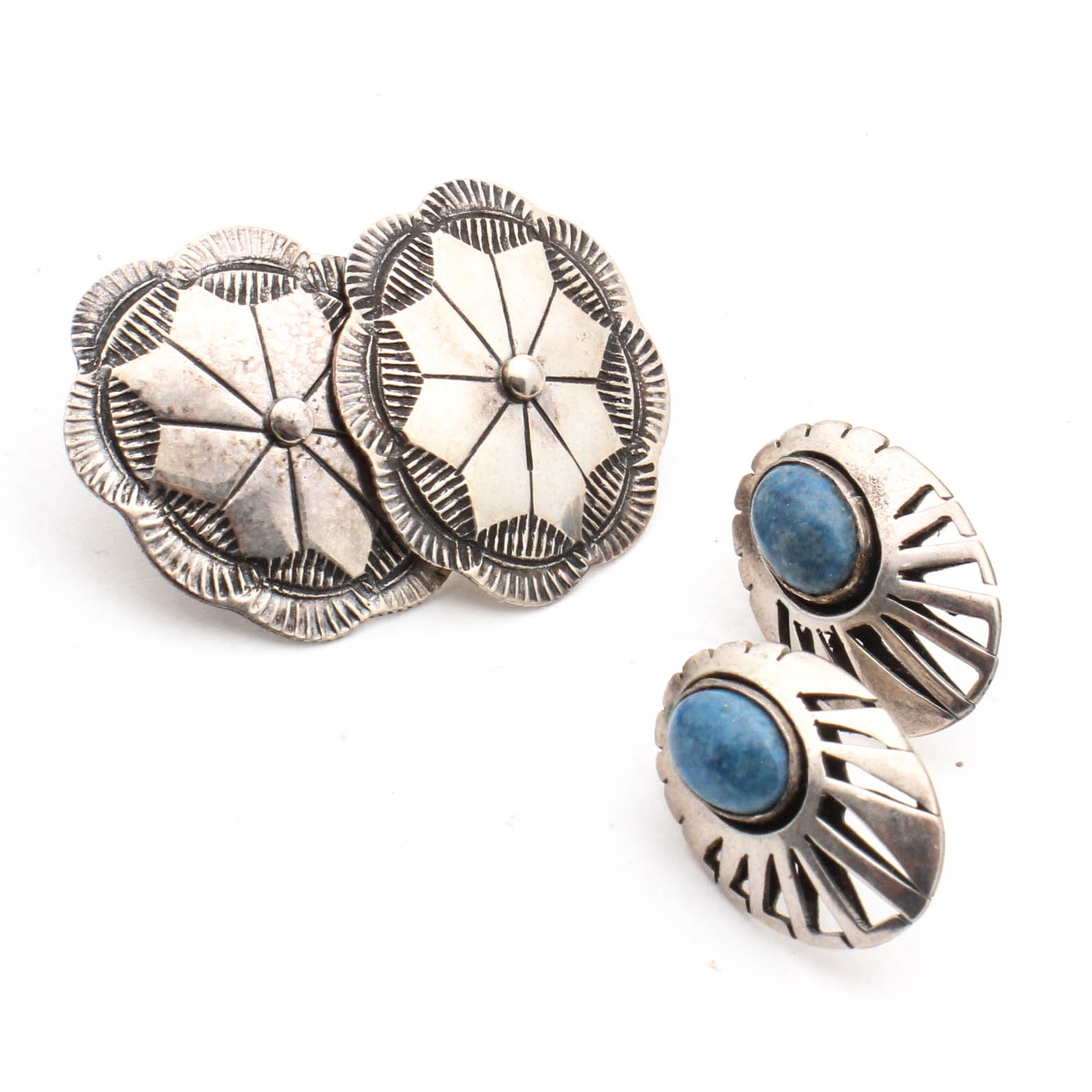Coin Silver Featuring Denim Lapis Earrings