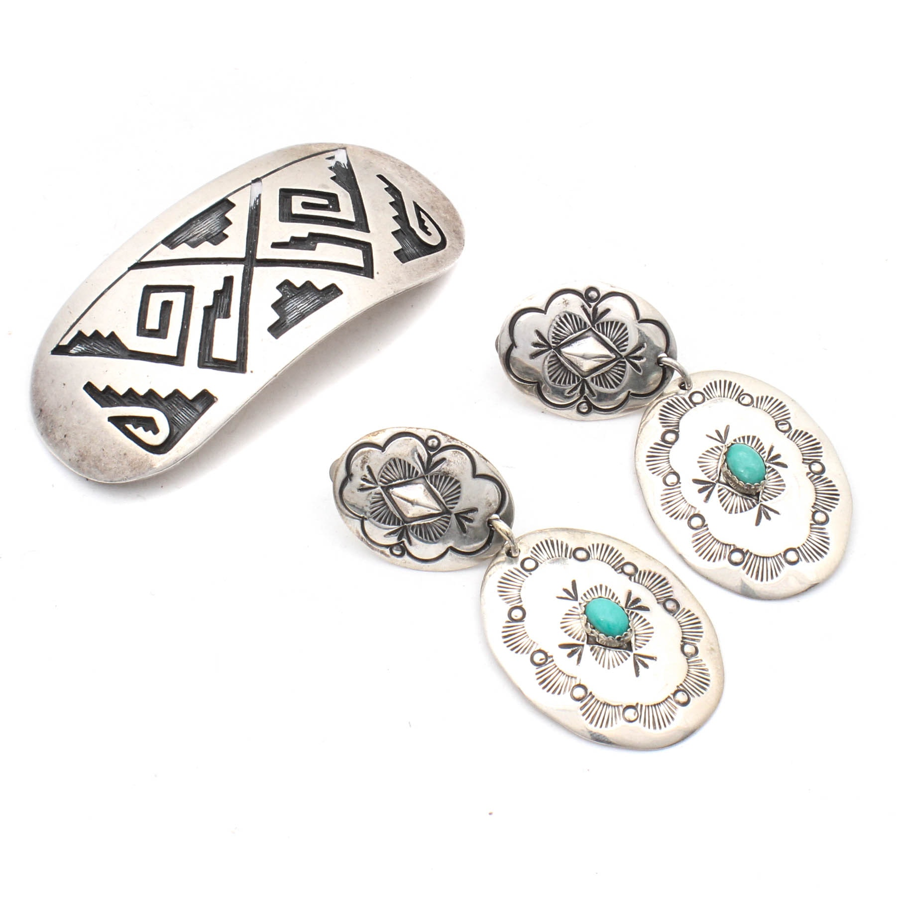 Sterling Silver Synthetic Turquoise Earrings and Hair Clip