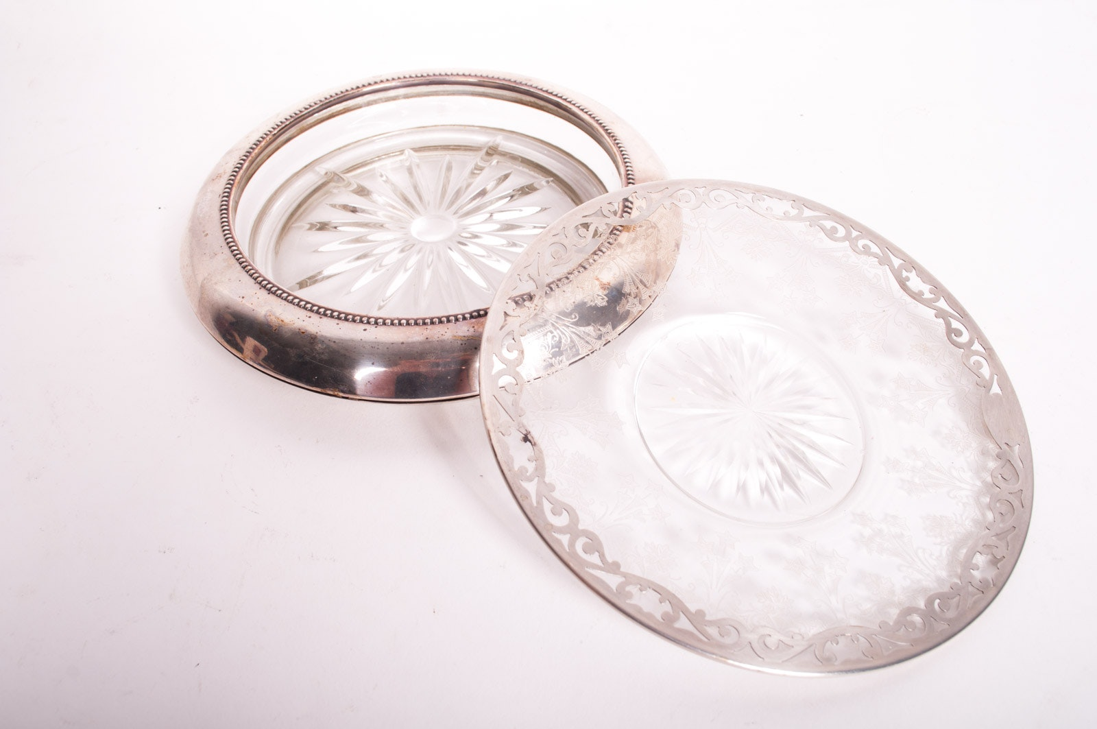 Sterling Silver and Glass Wine Bottle Coaster and Etched Plate