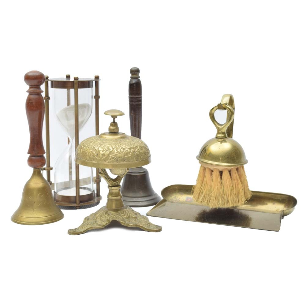 Brass Decor Featuring a Vintage Hotel Bell, Hourglass, More