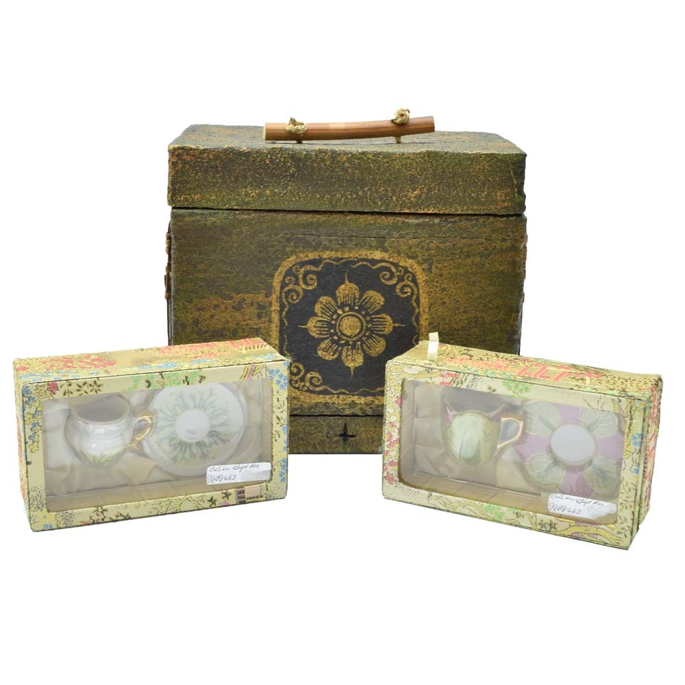 Asian Inspired Box with Decorative Porcelain Tea Cup and Saucer Sets
