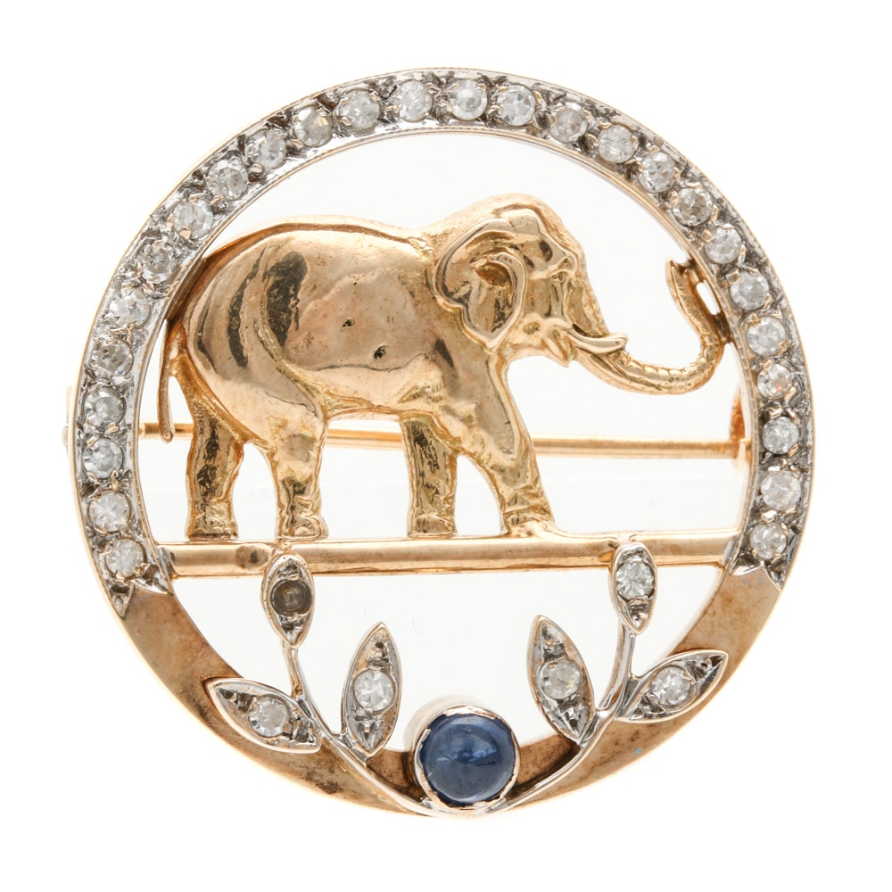 14K Yellow Gold Diamond Elephant Brooch
