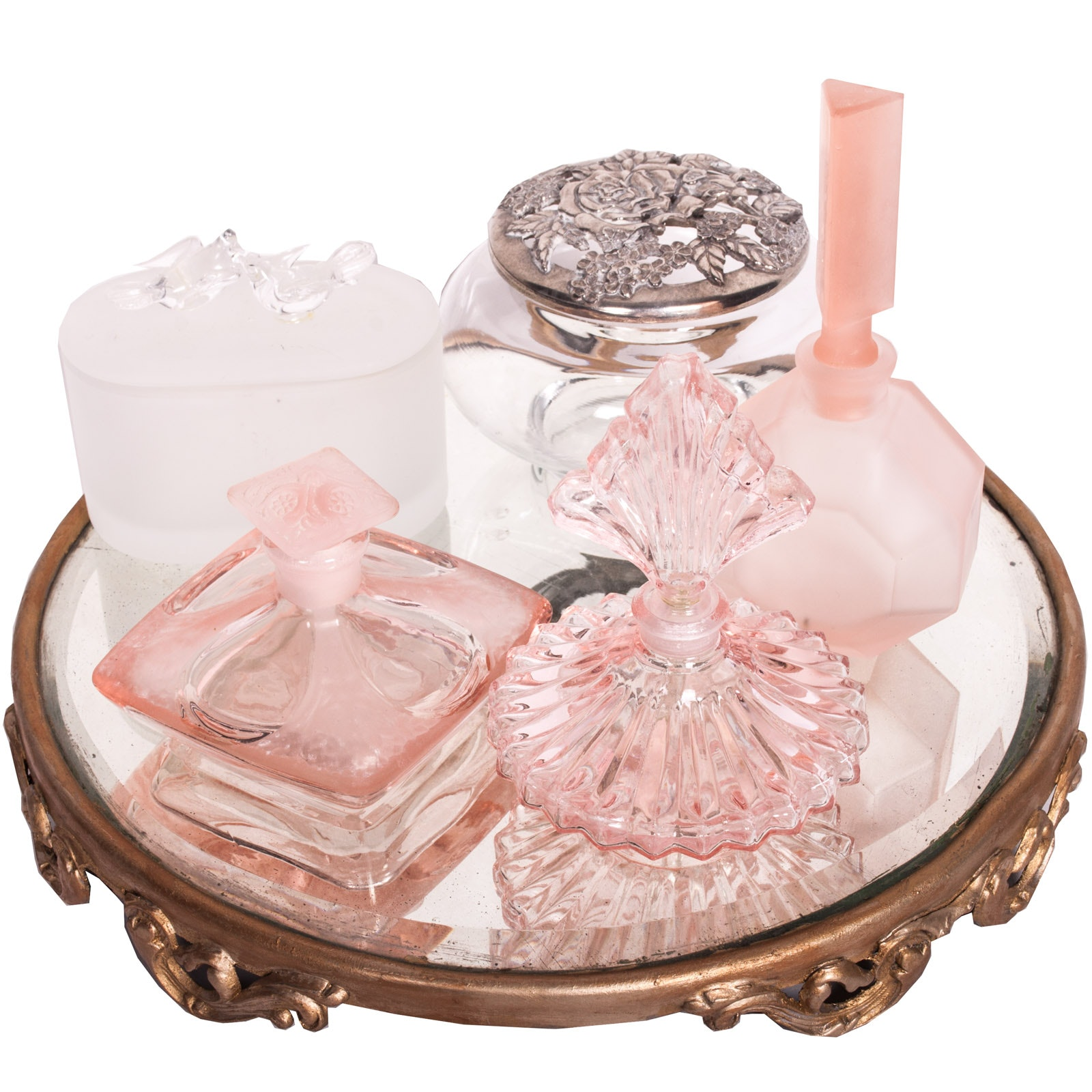 Vintage Table Mirror with Perfume Bottles and Potpourri Jar