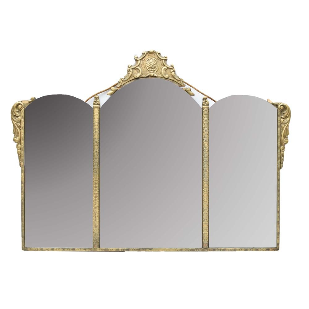 Vintage Painted Three Panel Wall Mirror