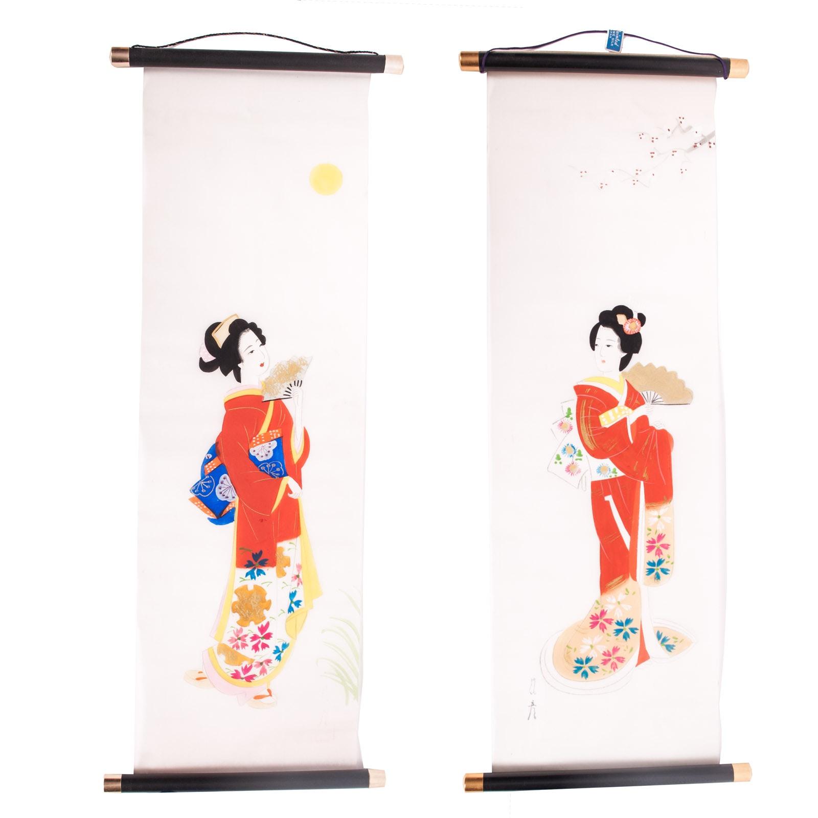 Japanese Tempura Paintings on Silk Scroll Panels