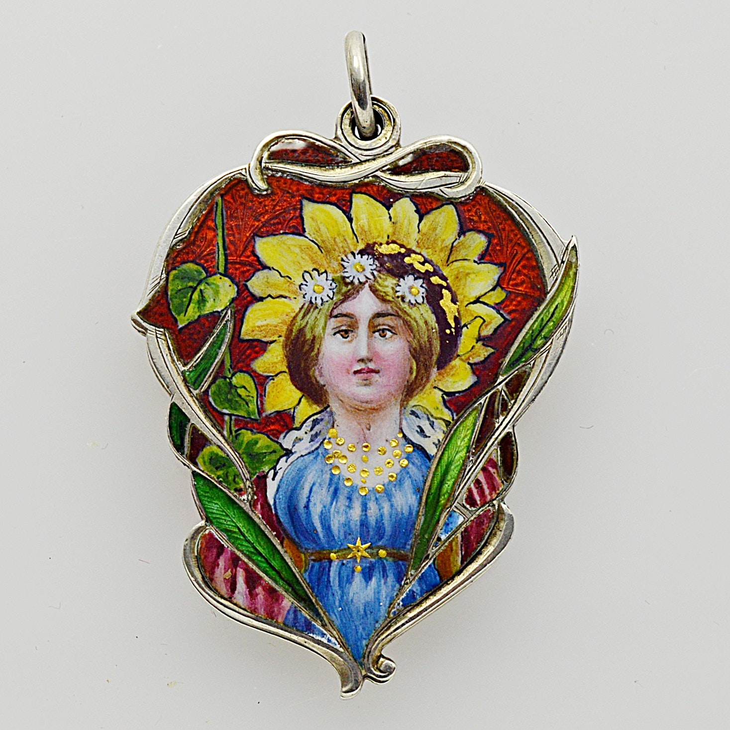 Art Nouveau Sterling Silver and Enamel Portrait Locket