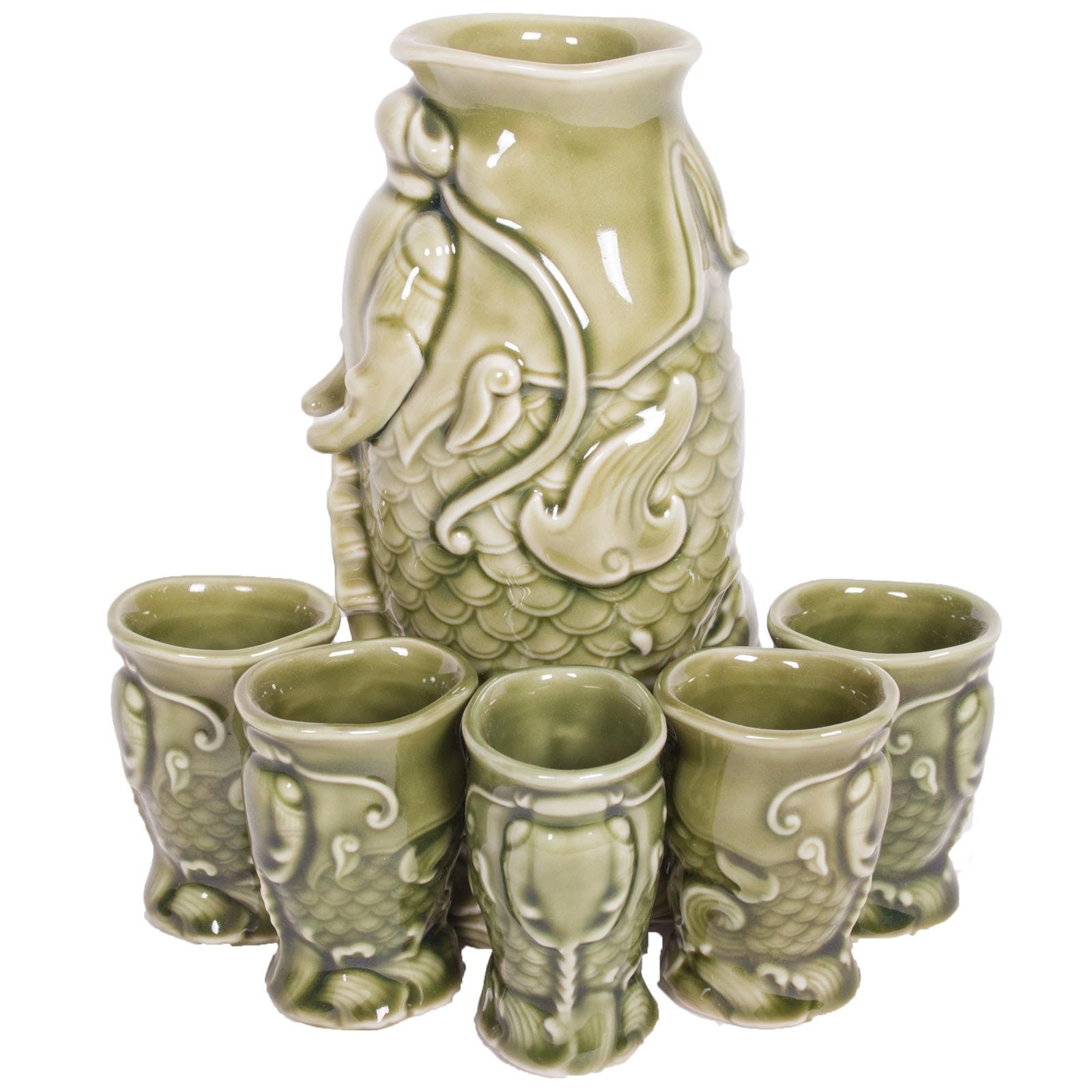 Ceramic Green Koi Sake Set