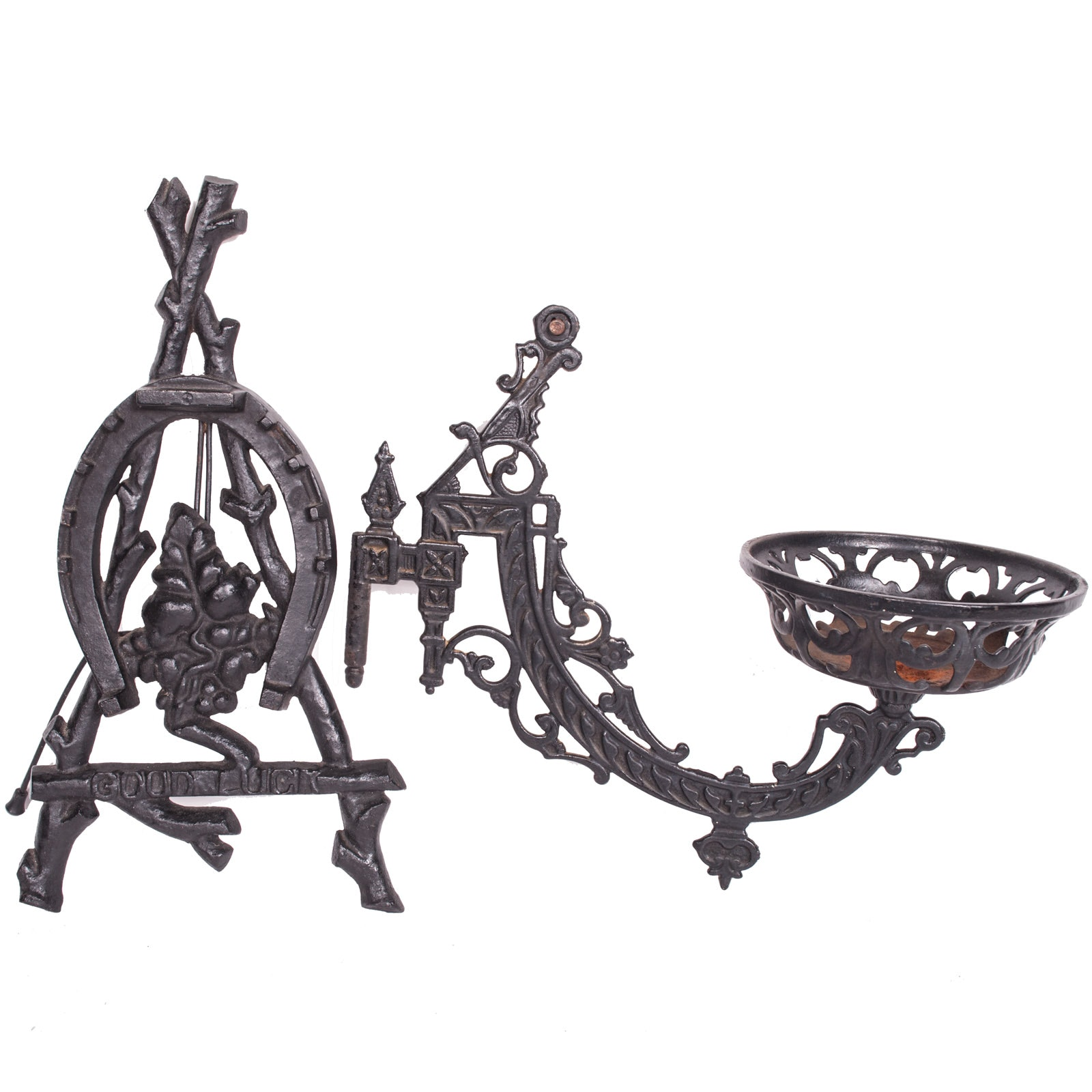 """Cast Iron Antique Wall Sconce and Vintage """"Good Luck"""" Trivet"""