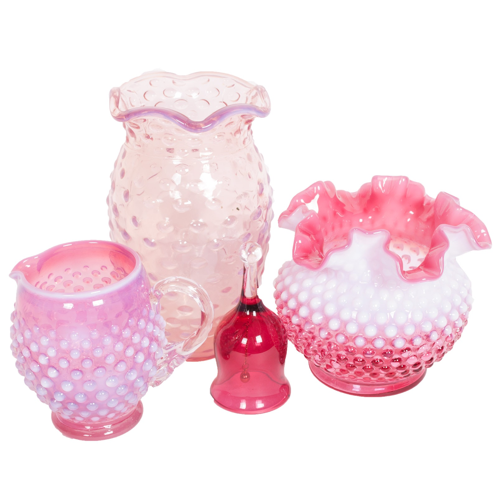 Cranberry and Pink Hobnail Glass Tableware including Fenton