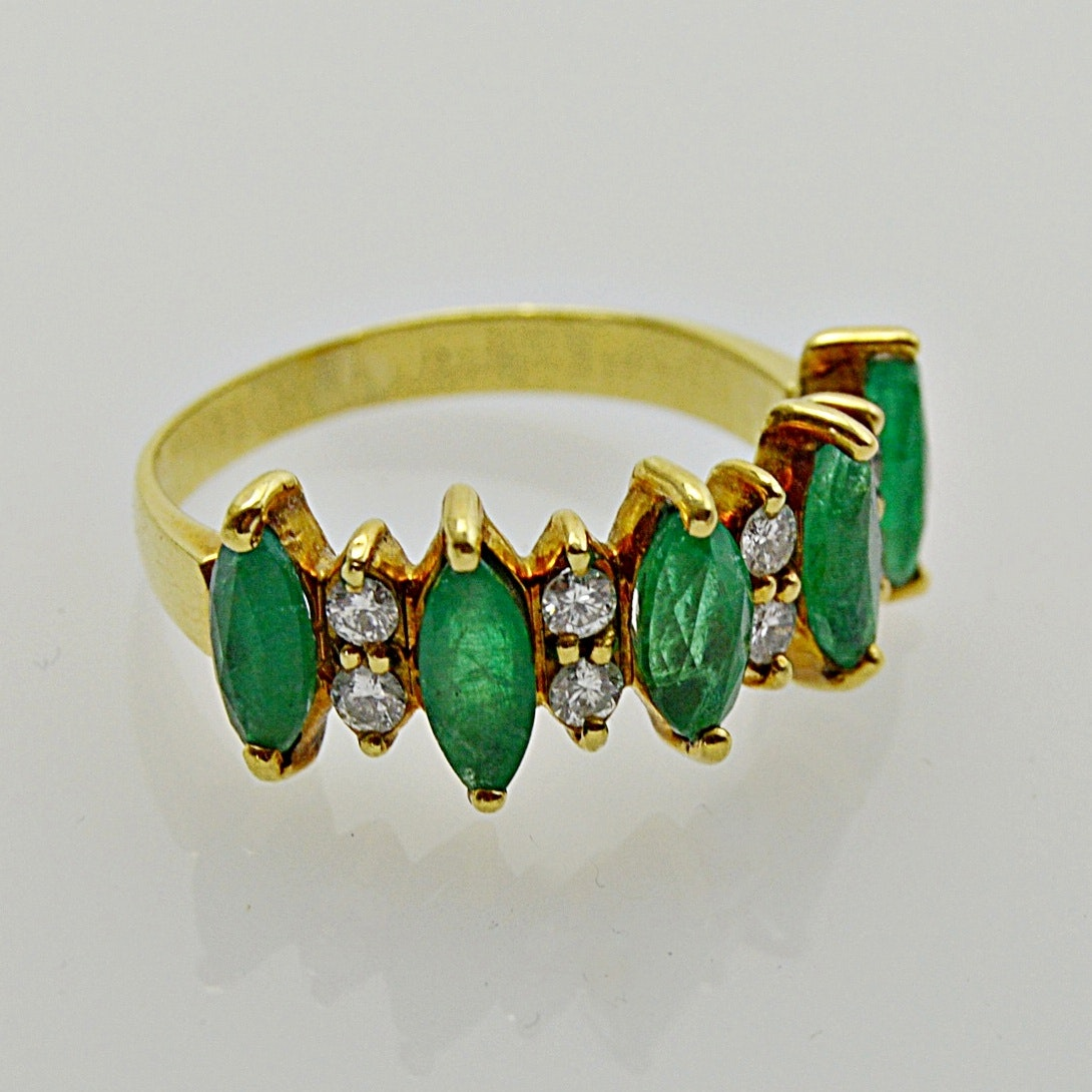 18K Yellow Gold, Emerald and Diamond Ring