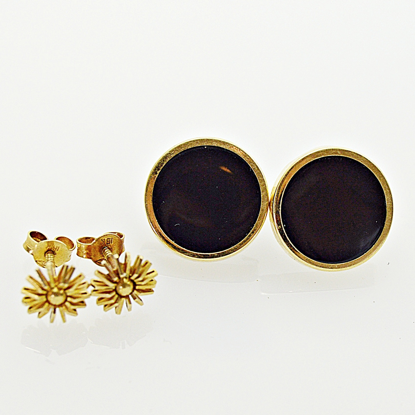 14K Yellow Gold and Black Onyx Pierced Earrings, 18K Yellow Gold Flower Earrings