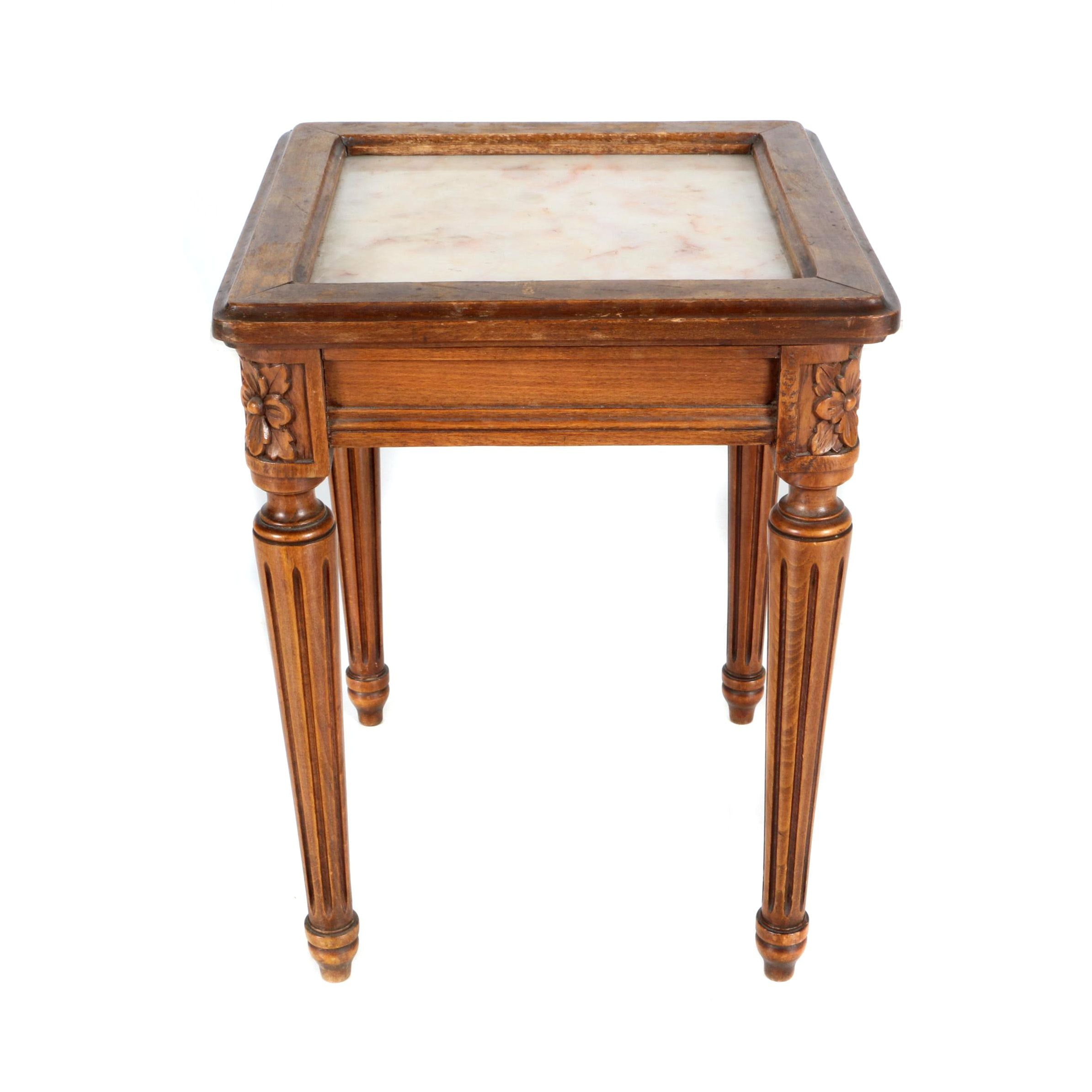 Marble and Walnut End Table