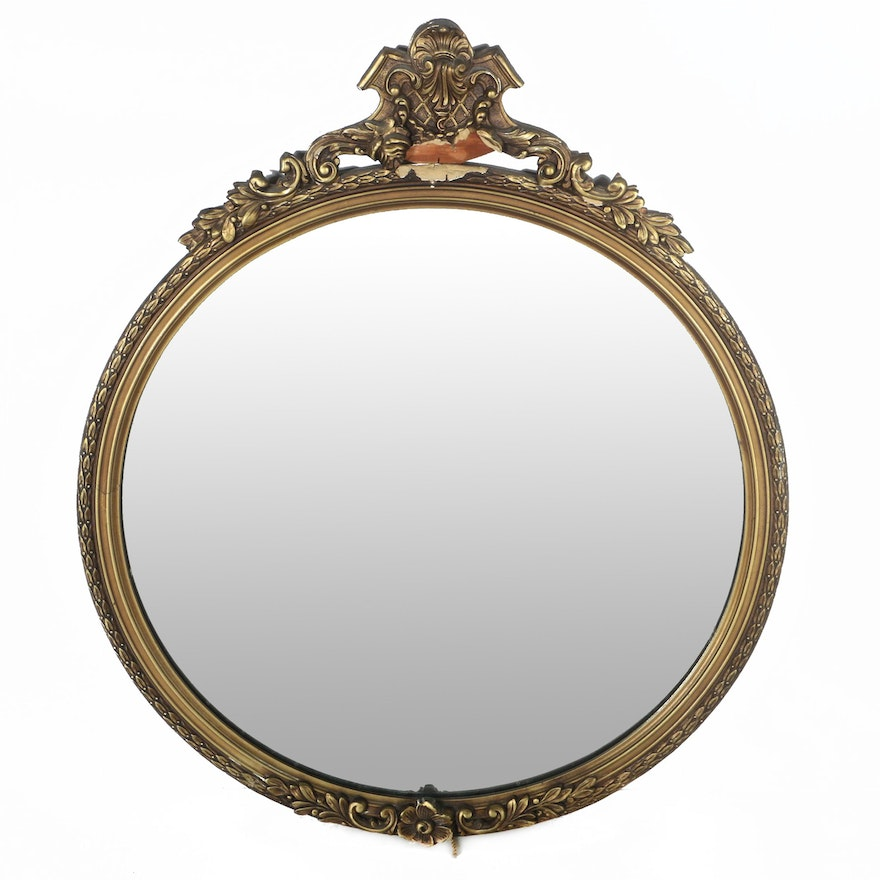 Round Wall Mirror with Venetian Style Wood Frame : EBTH