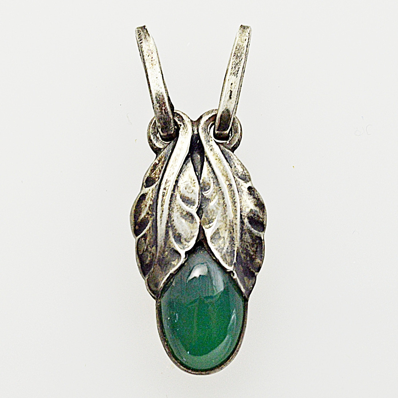Georg Jensen Art Nouveau Sterling Silver and Green Quartz Flower Bud Pendant