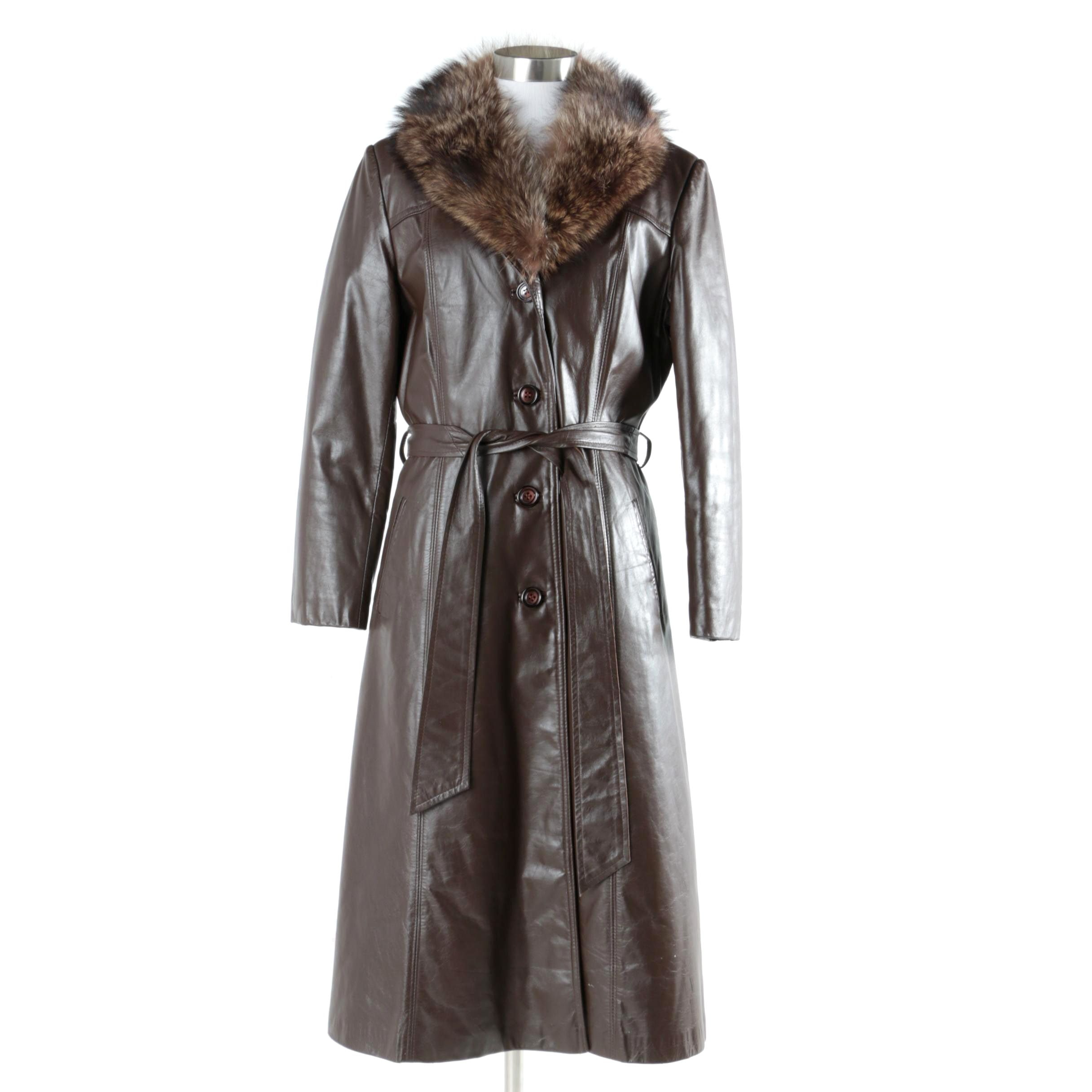Women's Vintage Brown Leather Coat with Raccoon Fur Collar