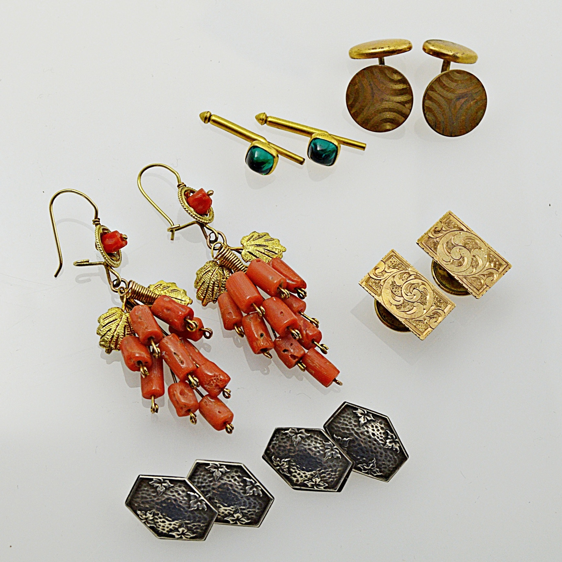 Vintage Jewelry with Gold-Filled Branch Coral Earrings and Sterling Cufflinks