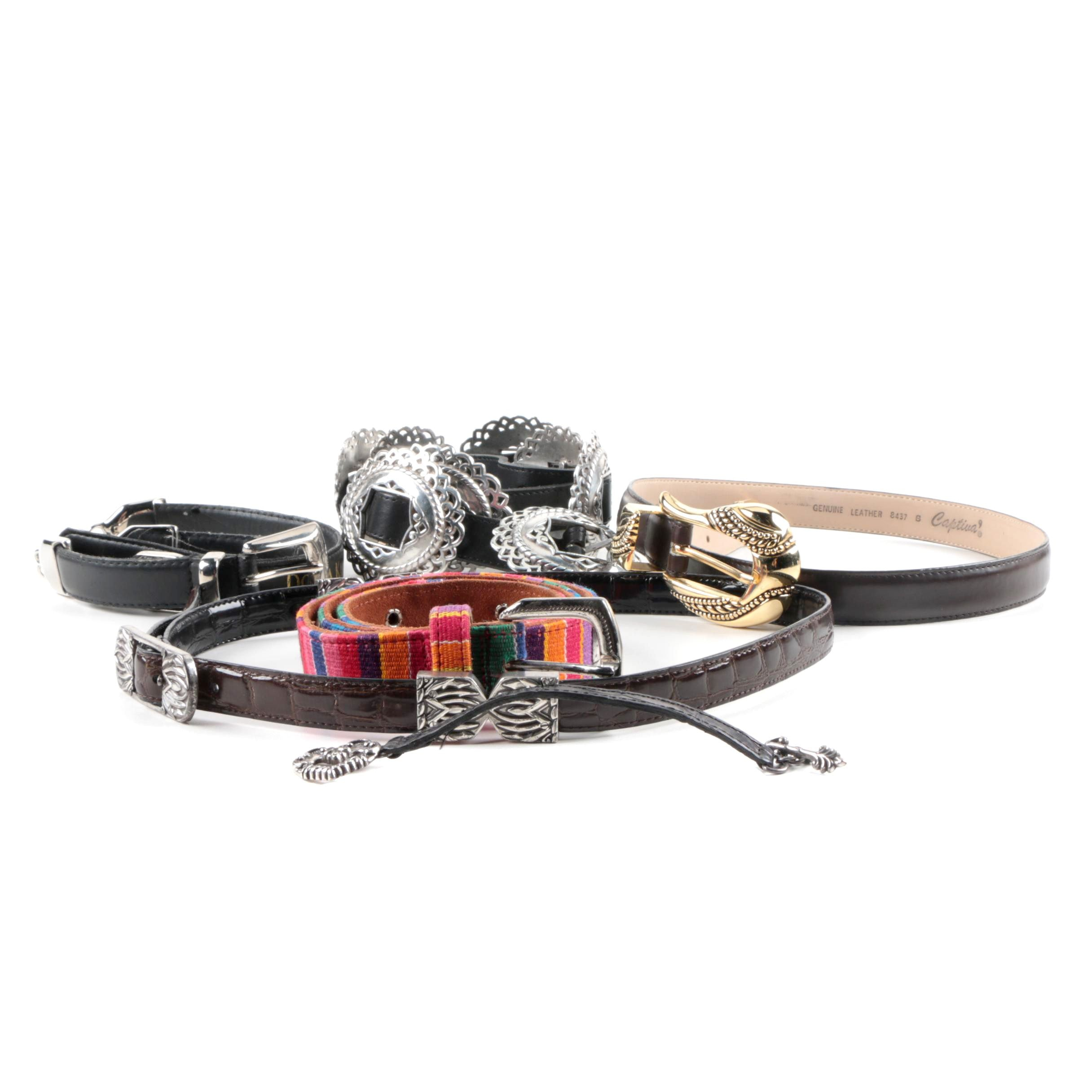 Women's Leather Belts and Bracelet Including Brighton
