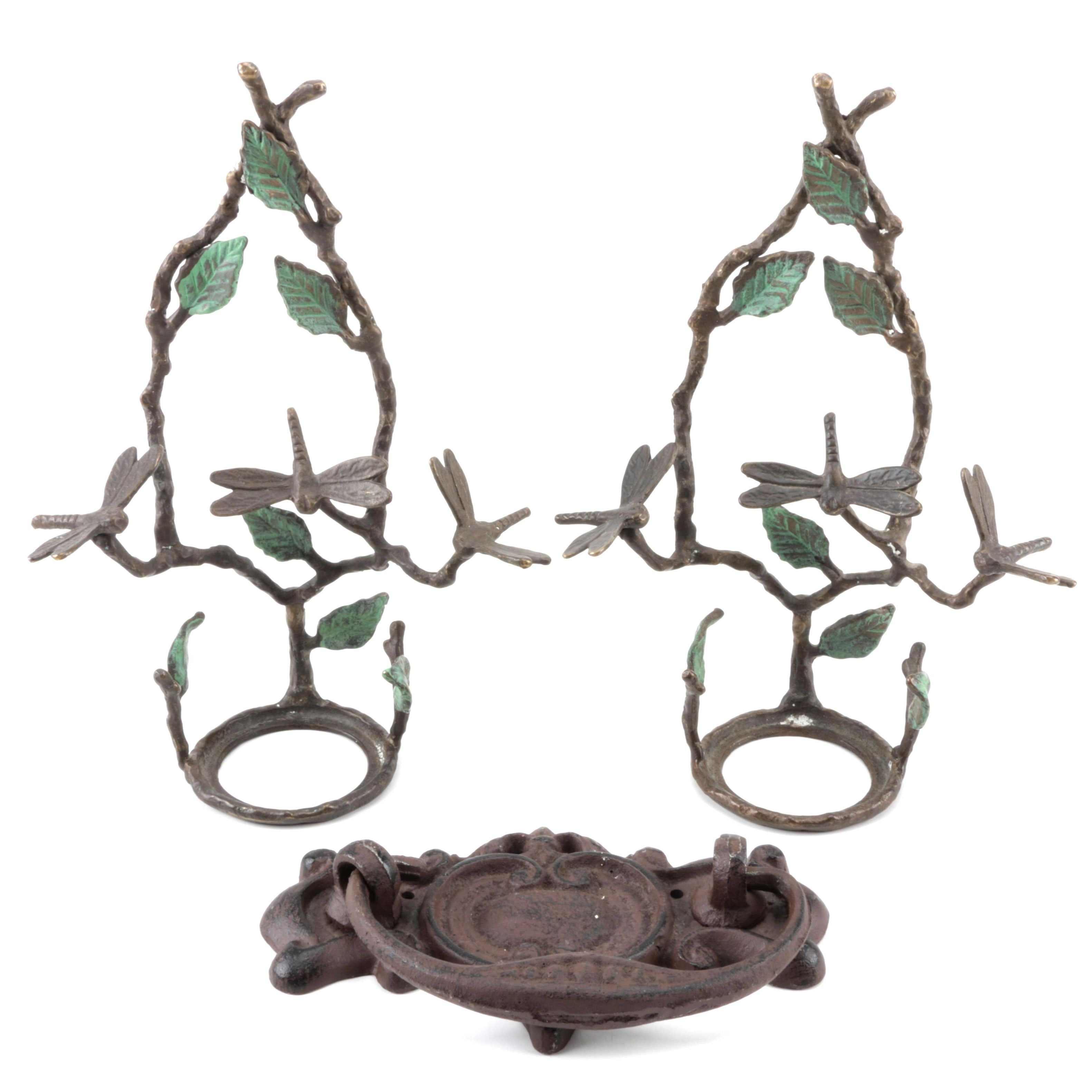 Metal Dragonfly Candle Holders