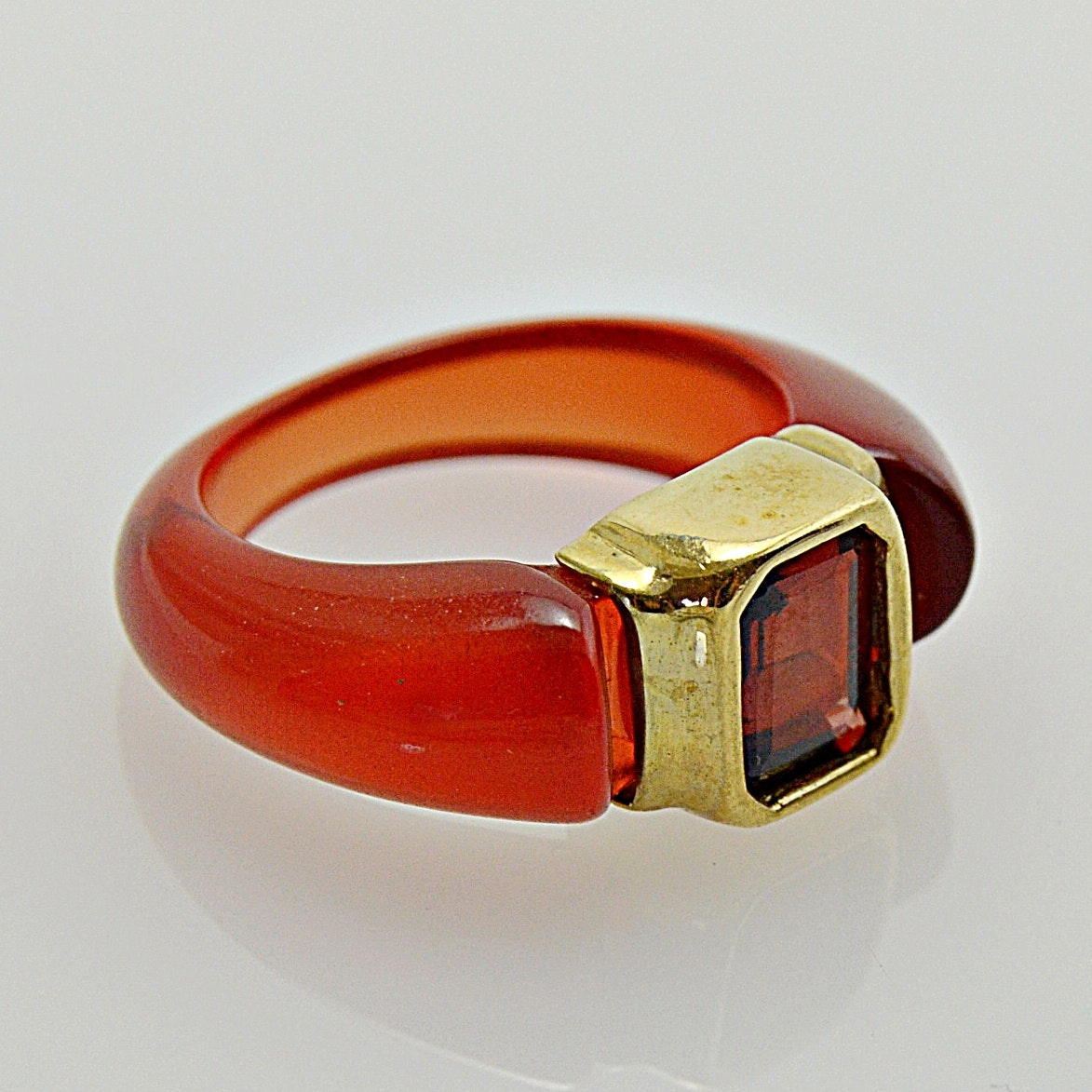 Modern 10K Yellow Gold, Garnet and Resin Ring