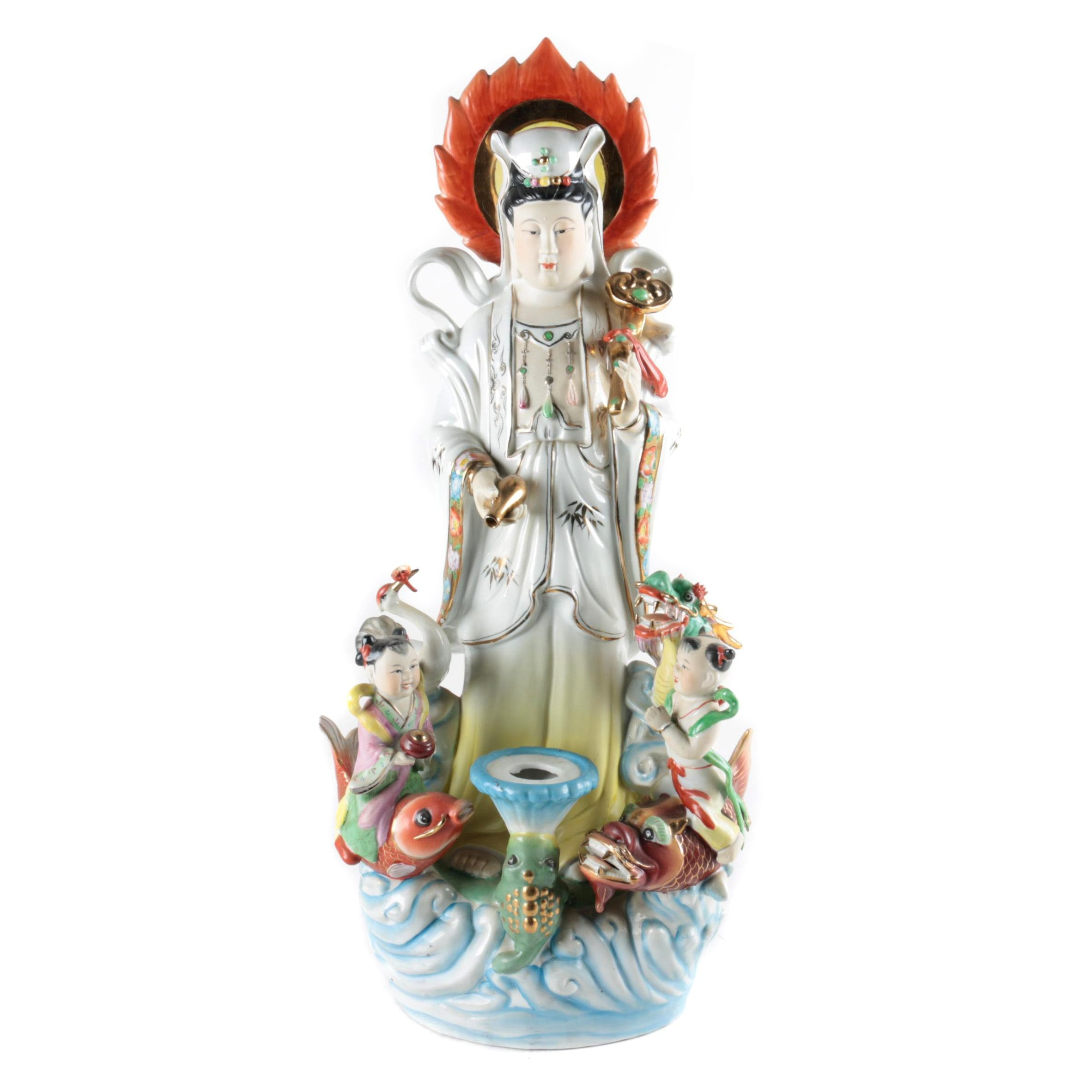 East Asian Style Ceramic Figure of Guan Yin