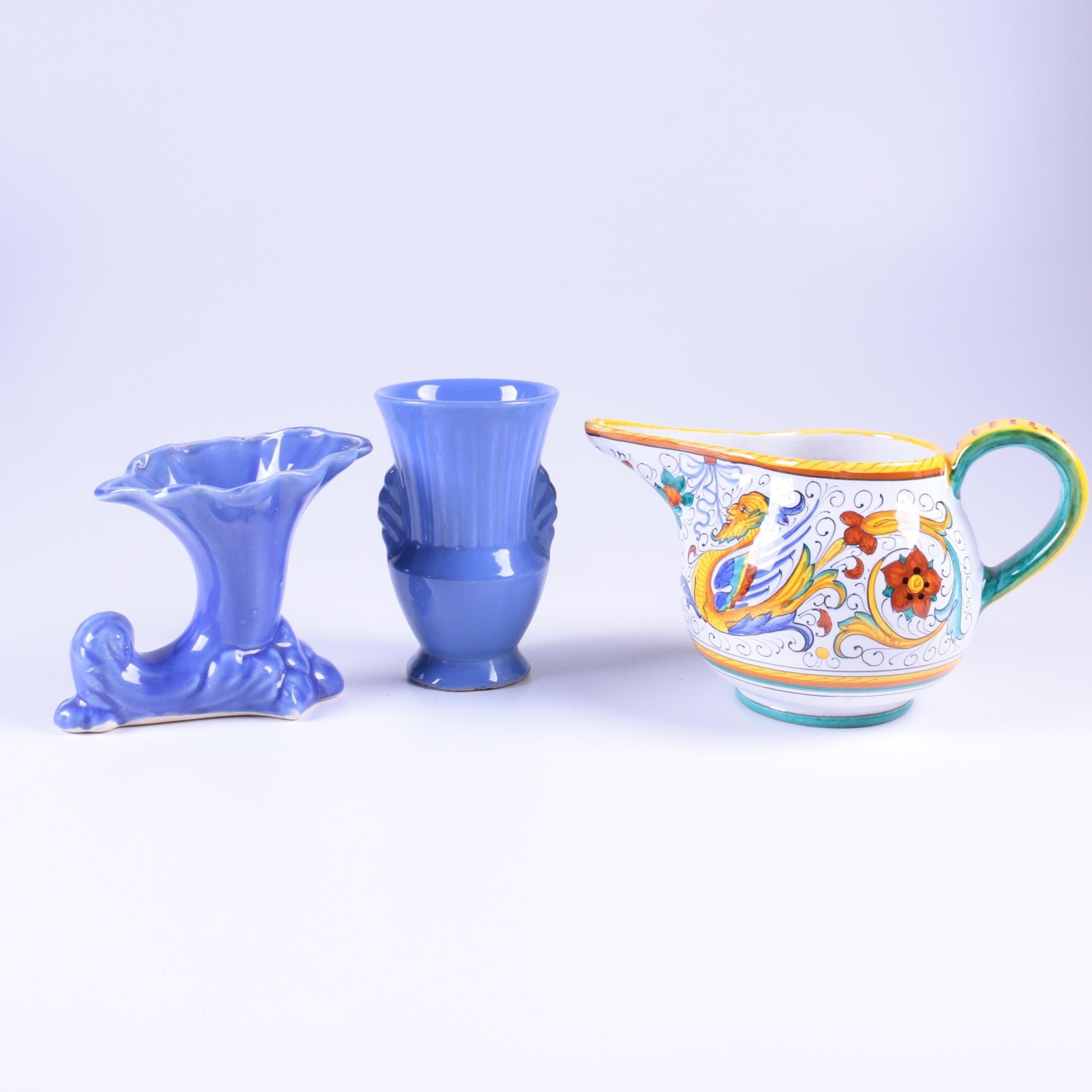 Deruta Italian Pottery Planter and Mid Century Pottery