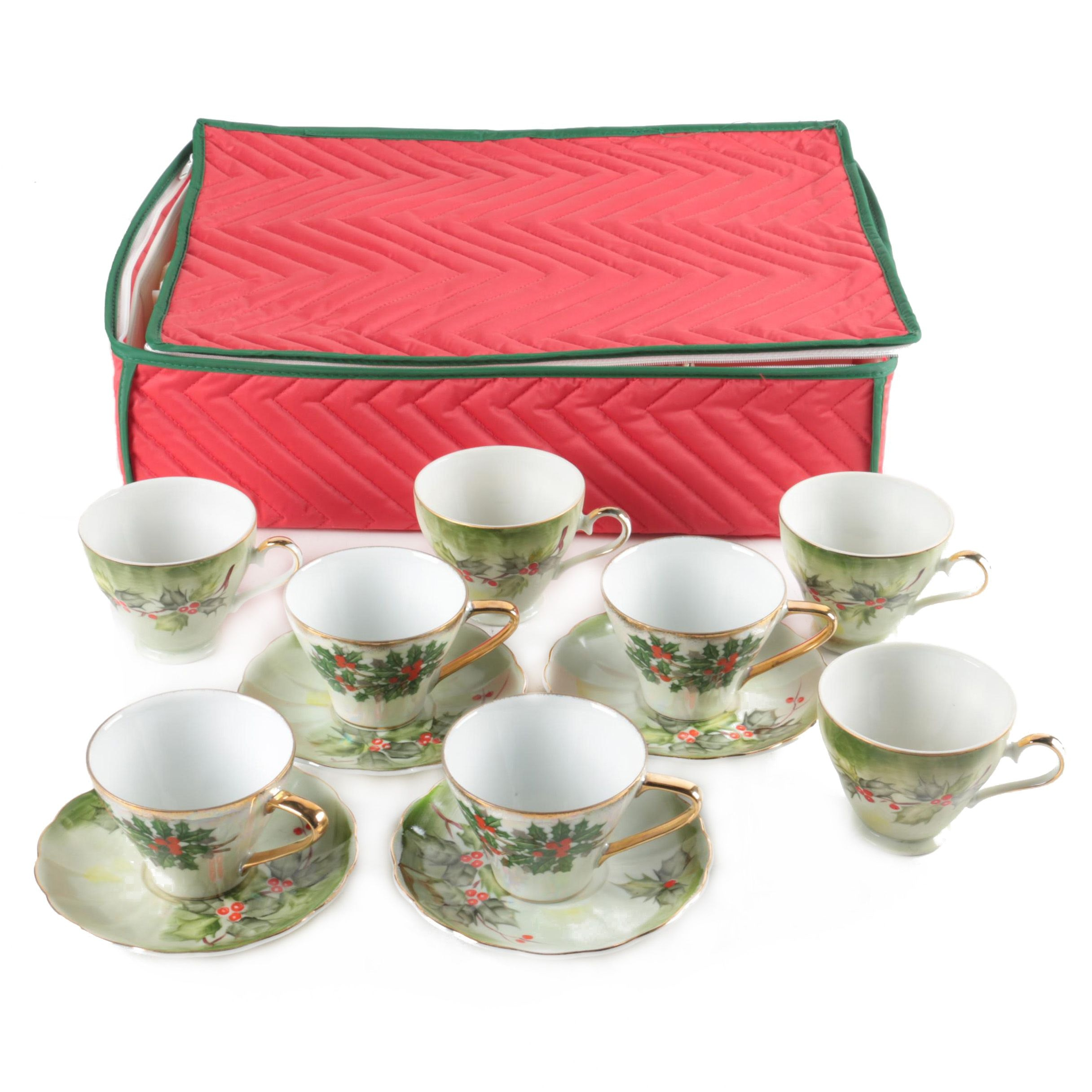 Vintage Christmas Cups and Saucers with Gilded Trim