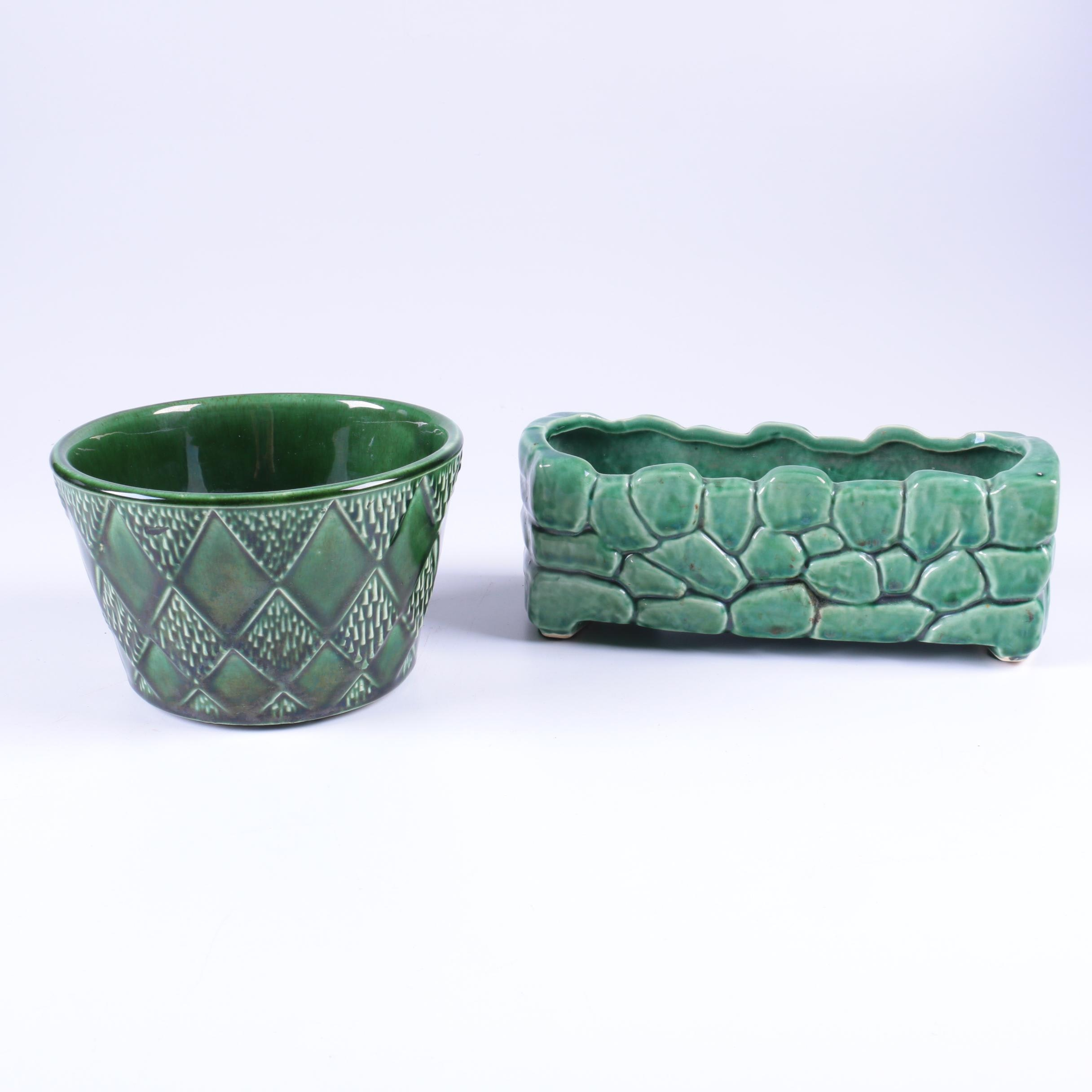 Pairing of McCoy Green Glazed Planters