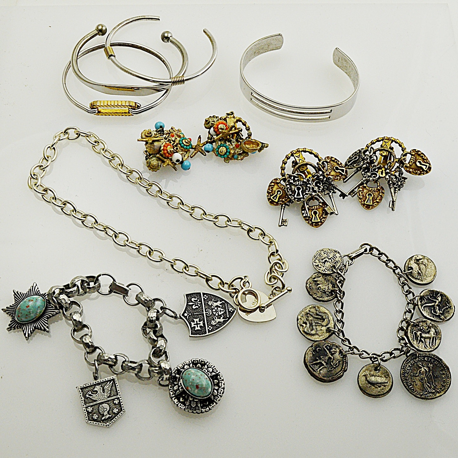 Silver Tone Jewelry with Charm Earrings, Faux Coin Bracelet
