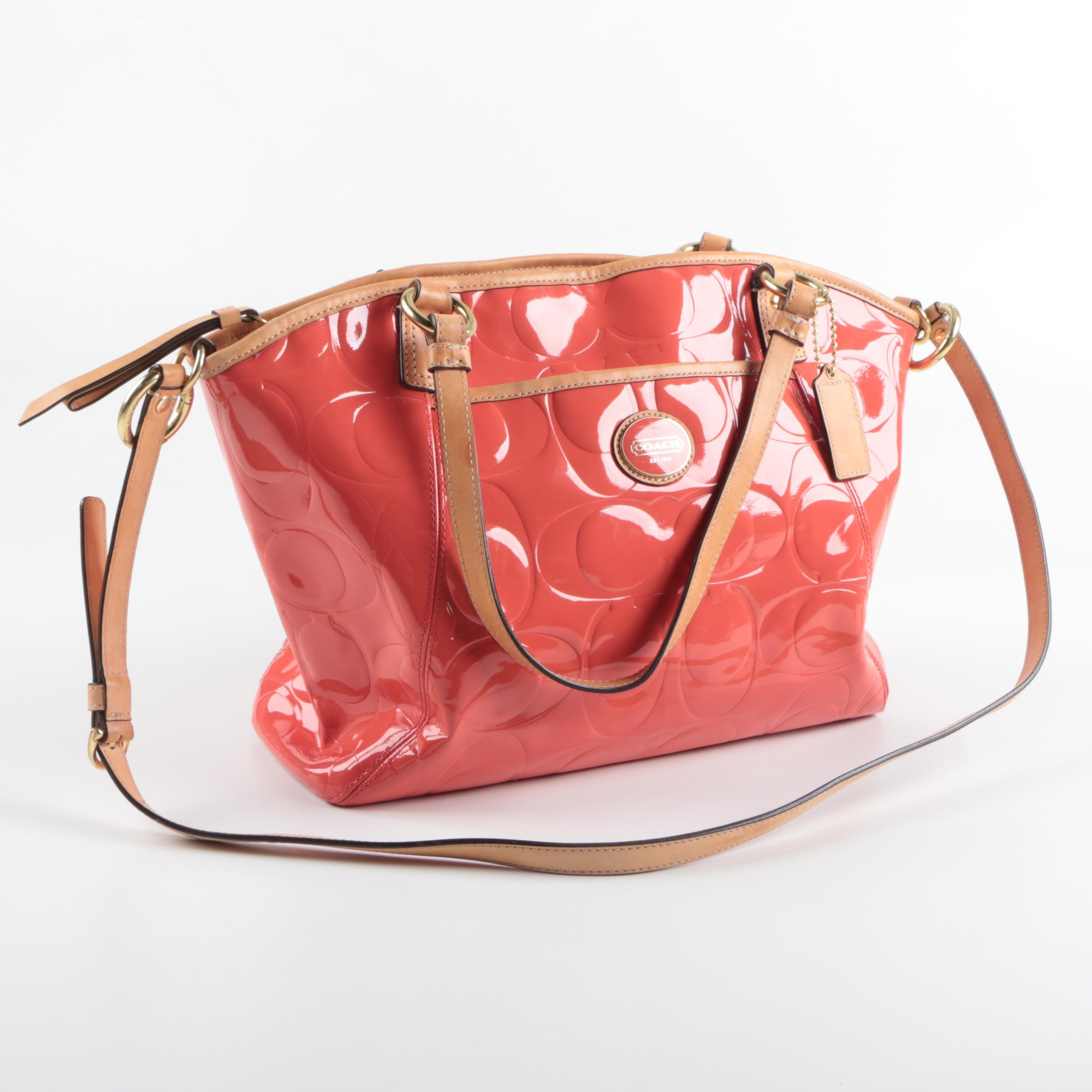 Coach Peyton Signature Patent Leather Tote