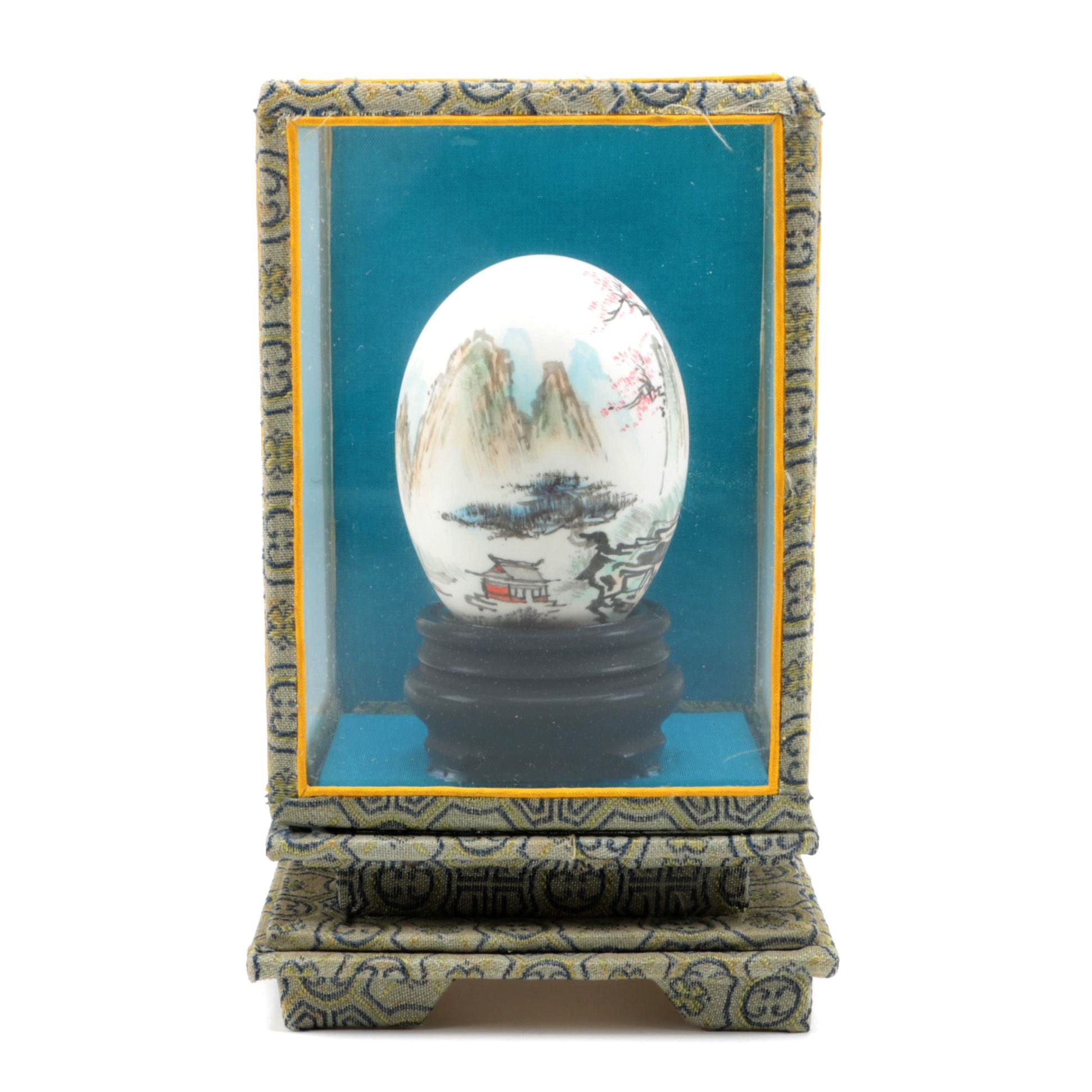 Vintage East Asian Painted Egg and Case