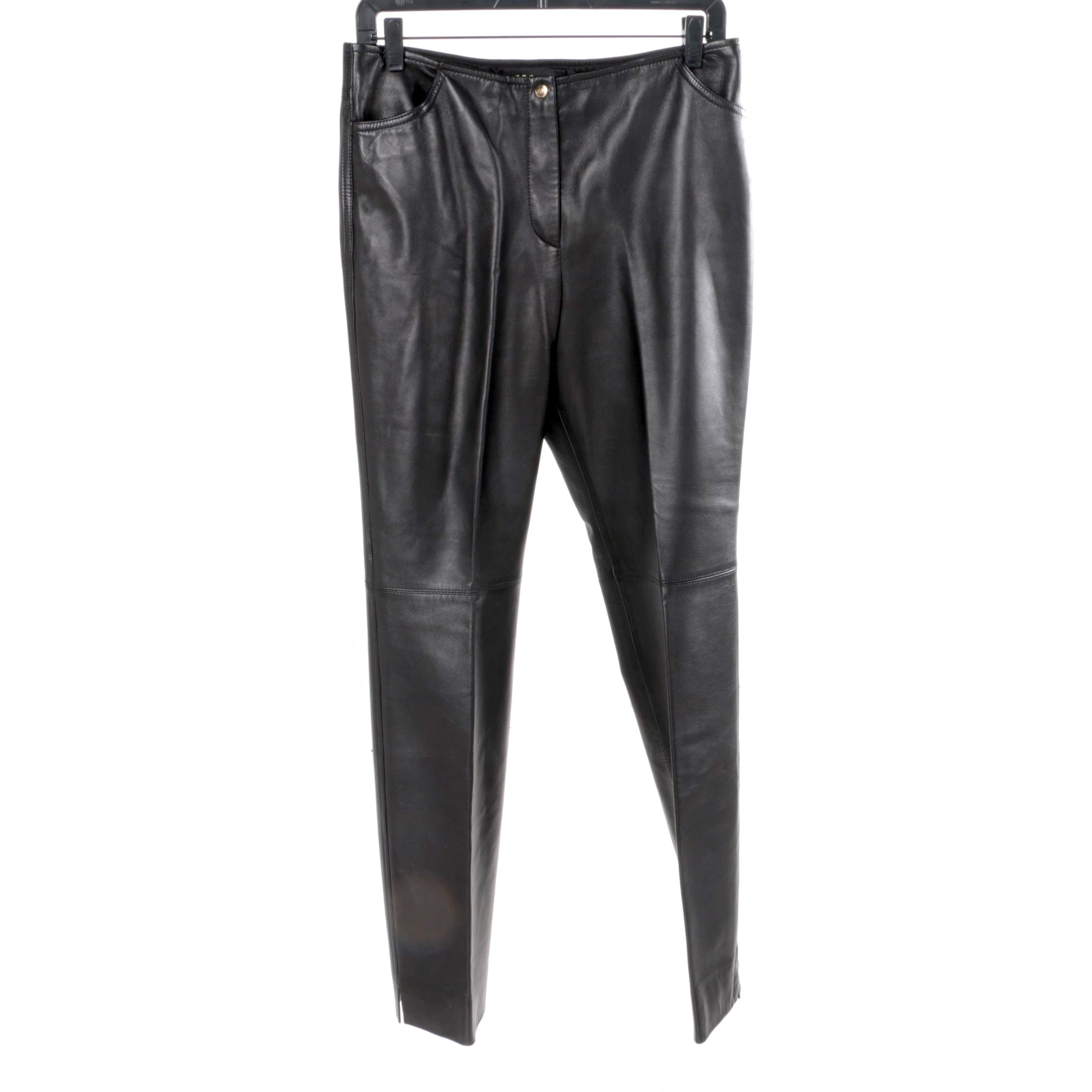 Women's Escada Black Lambskin Nappa Pants